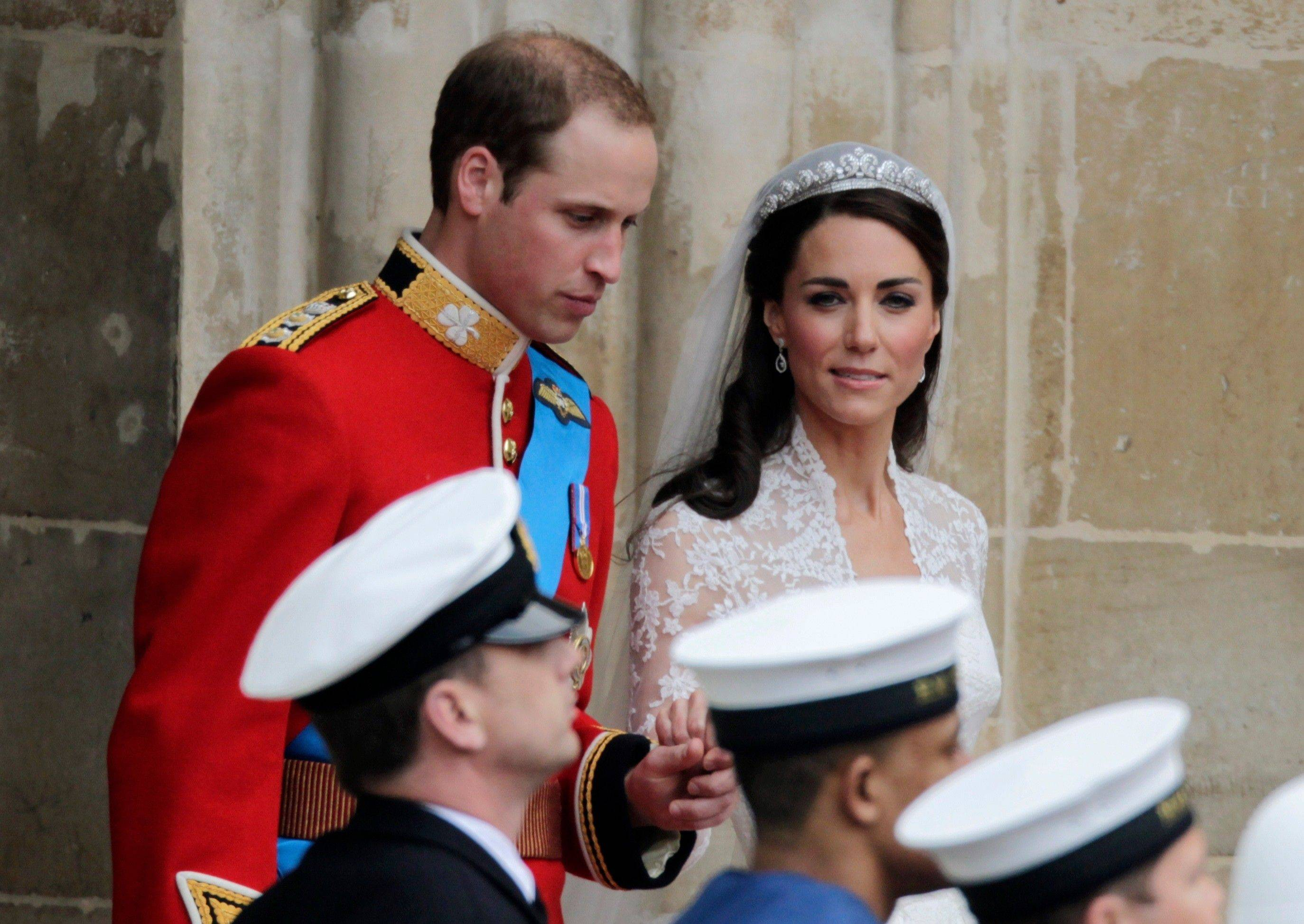 Britain's Prince William and his wife Kate, Duchess of Cambridge, leave Westminster Abbey at the Royal Wedding in London Friday, April 29, 2011.