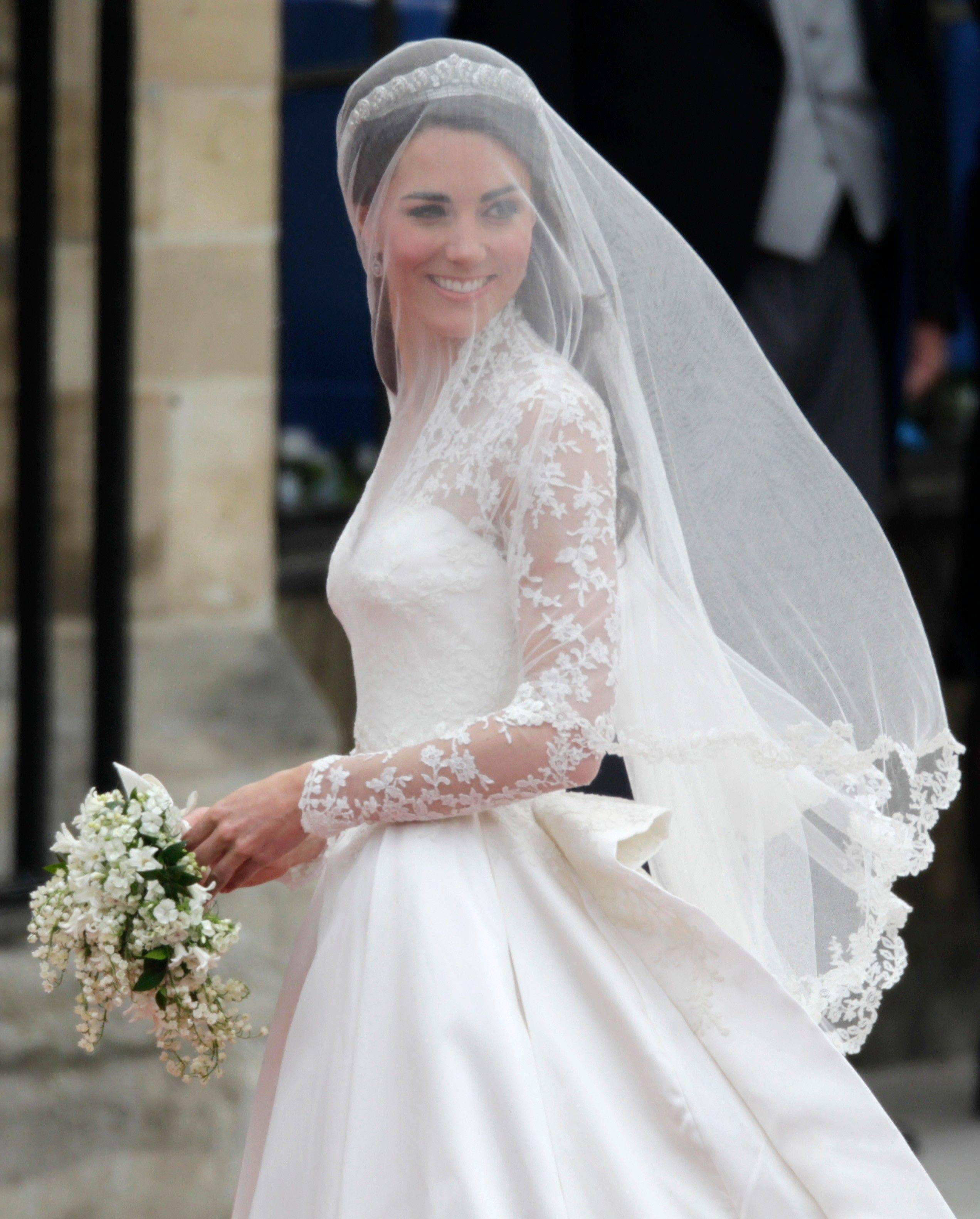 Kate Middleton arrives at Westminster Abbey at the Royal Wedding in London Friday, April 29, 2011.