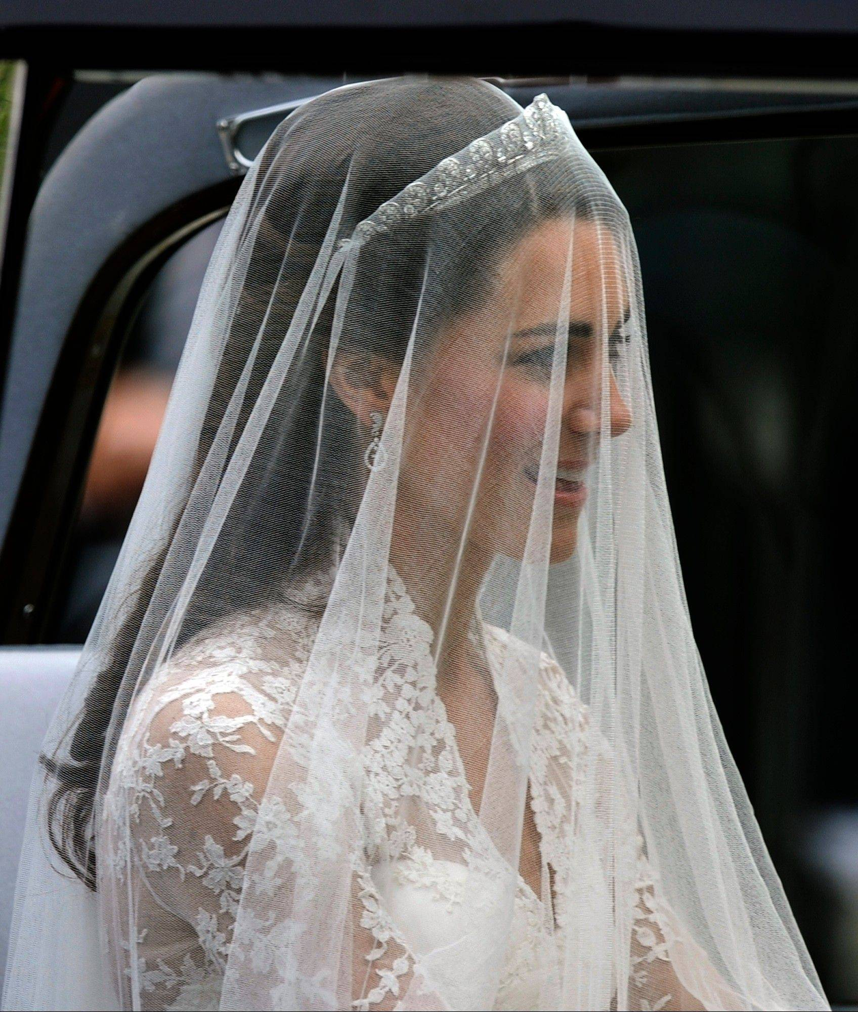 Kate Middleton arrives at Westminster Abbey for the Royal Wedding with Britain's Prince William in London Friday, April, 29, 2011.