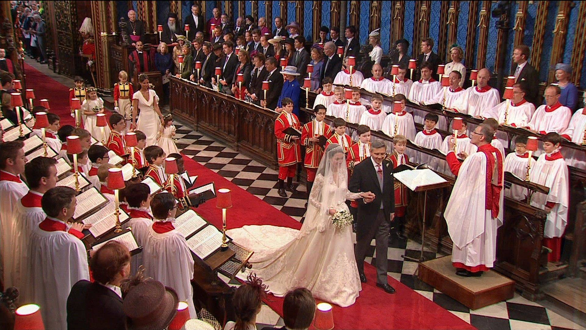 Kate Middleton walks down the aisle with her father, Michael Middleton, at Westminster Abbey for the Royal Wedding in London on Friday, April, 29, 2011.