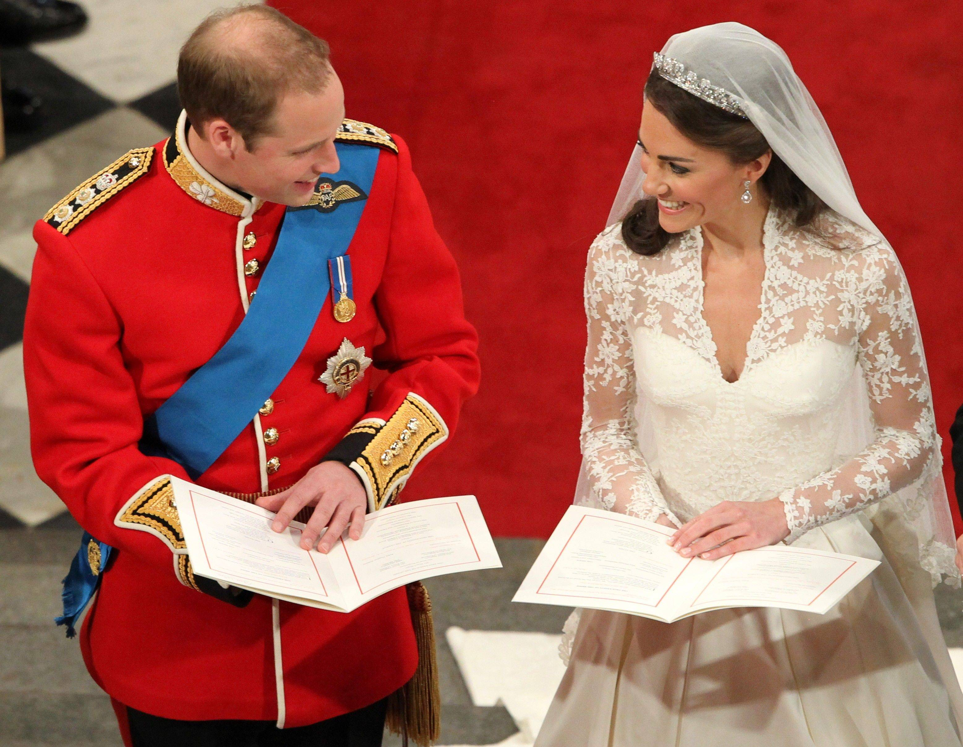 Britain's Prince William and his bride Kate Middleton during their wedding service at Westminster Abbey, London, Friday April 29, 2011.