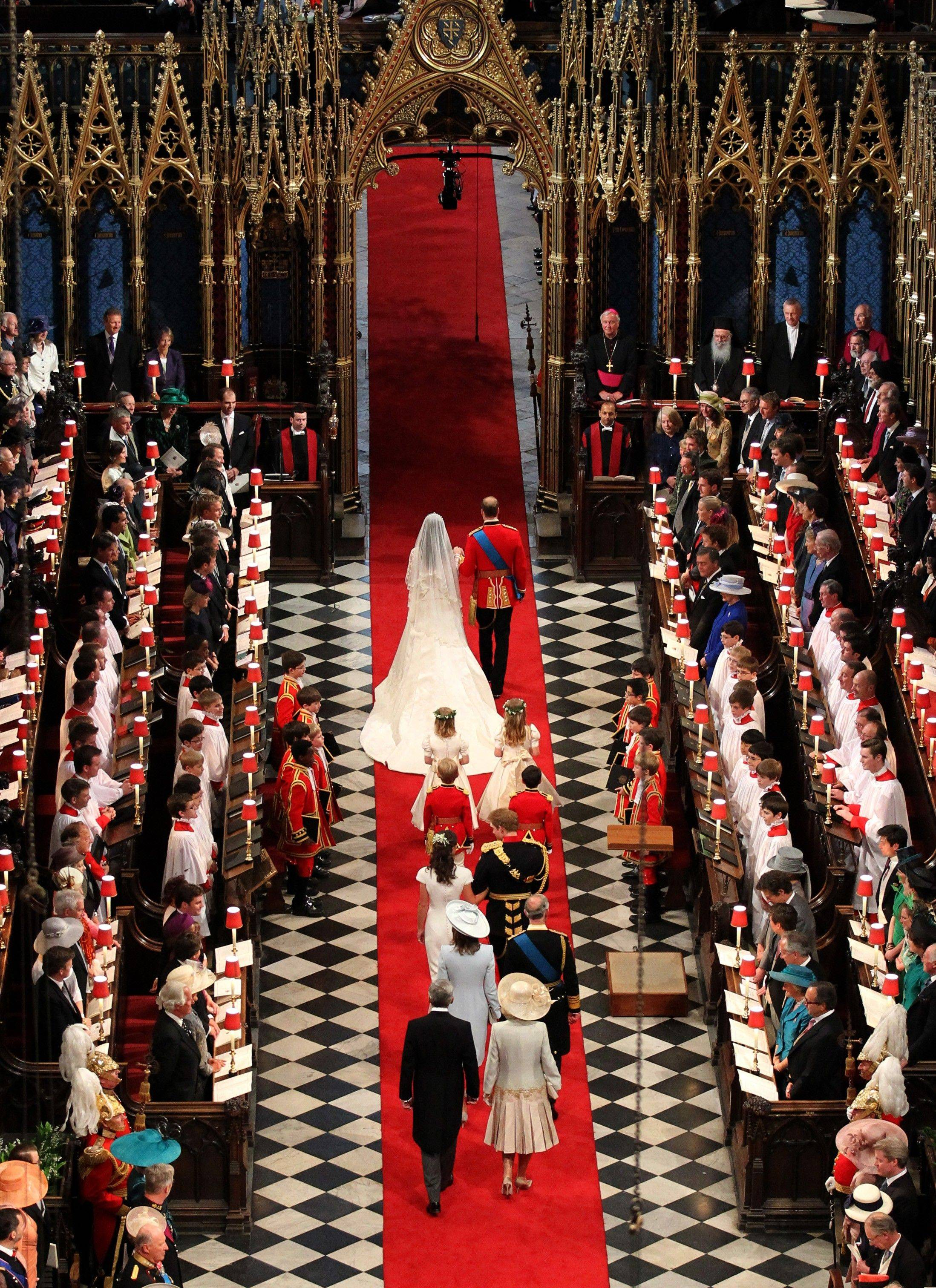 Prince William and his new bride Kate, Duchess of Cambridge, leave Westminster Abbey, central London, after their marriage Friday April 29, 2011.