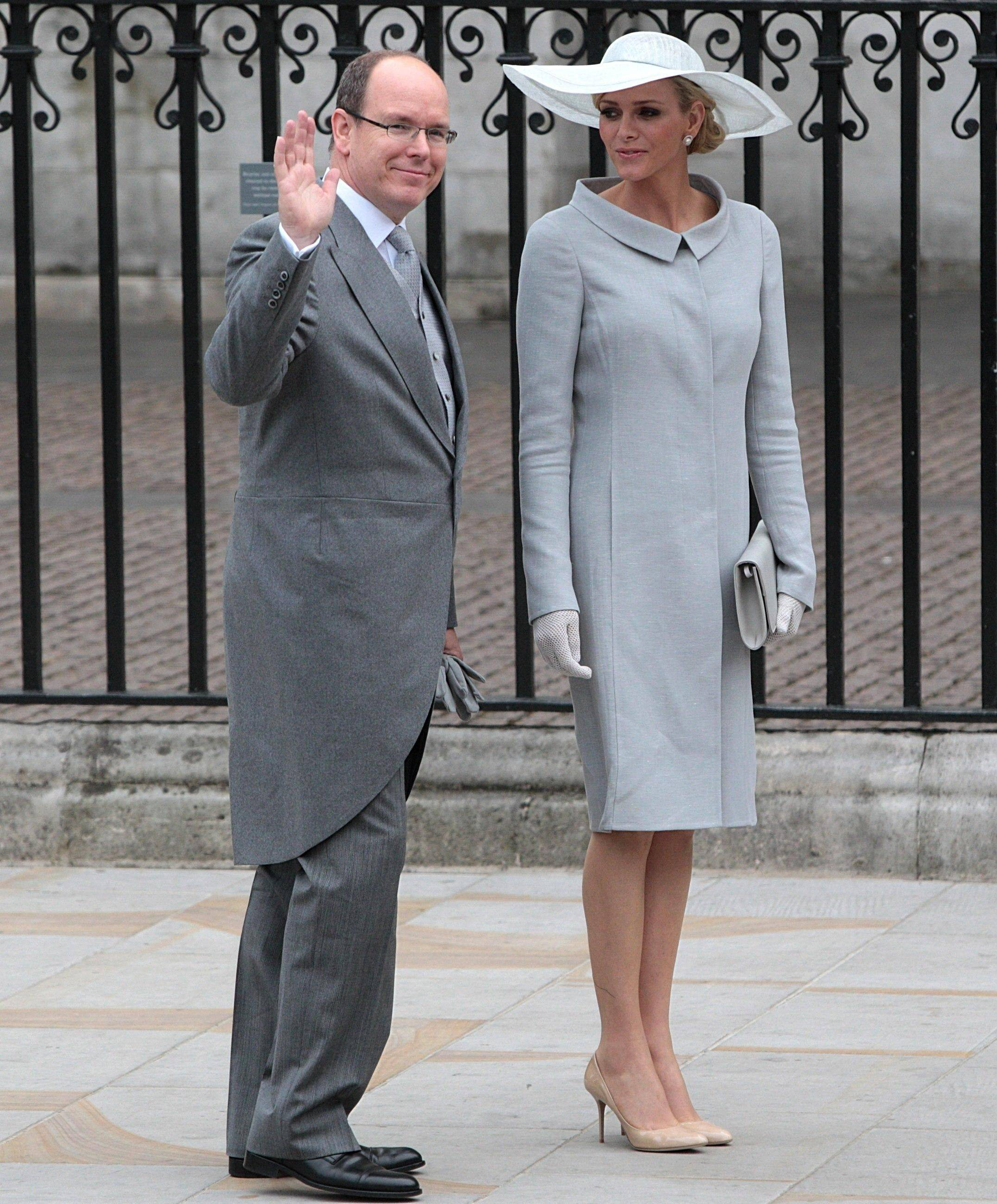 Prince Albert of Monaco with his fiancee Charlene Wittstock arrive at Westminster Abbey in London where Britain's Prince William and Kate Middleton will marry, Friday April 29, 2011.