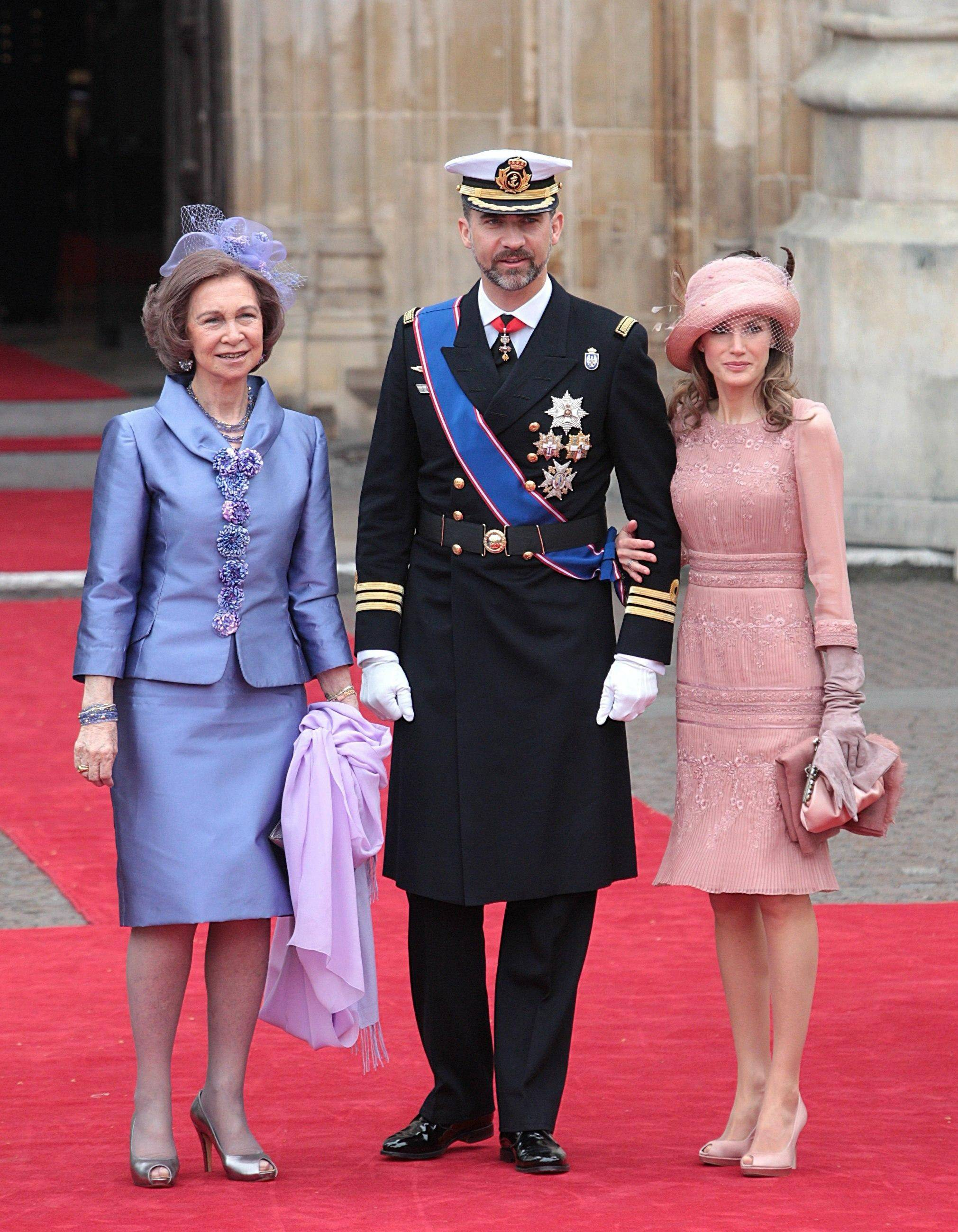Spain's Prince Felipe is flanked by Princess Letizia, right, and Spain's Queen Sofia arrive at Westminster Abbey in London where Britain's Prince William and Kate Middleton will marry, Friday April 29, 2011.