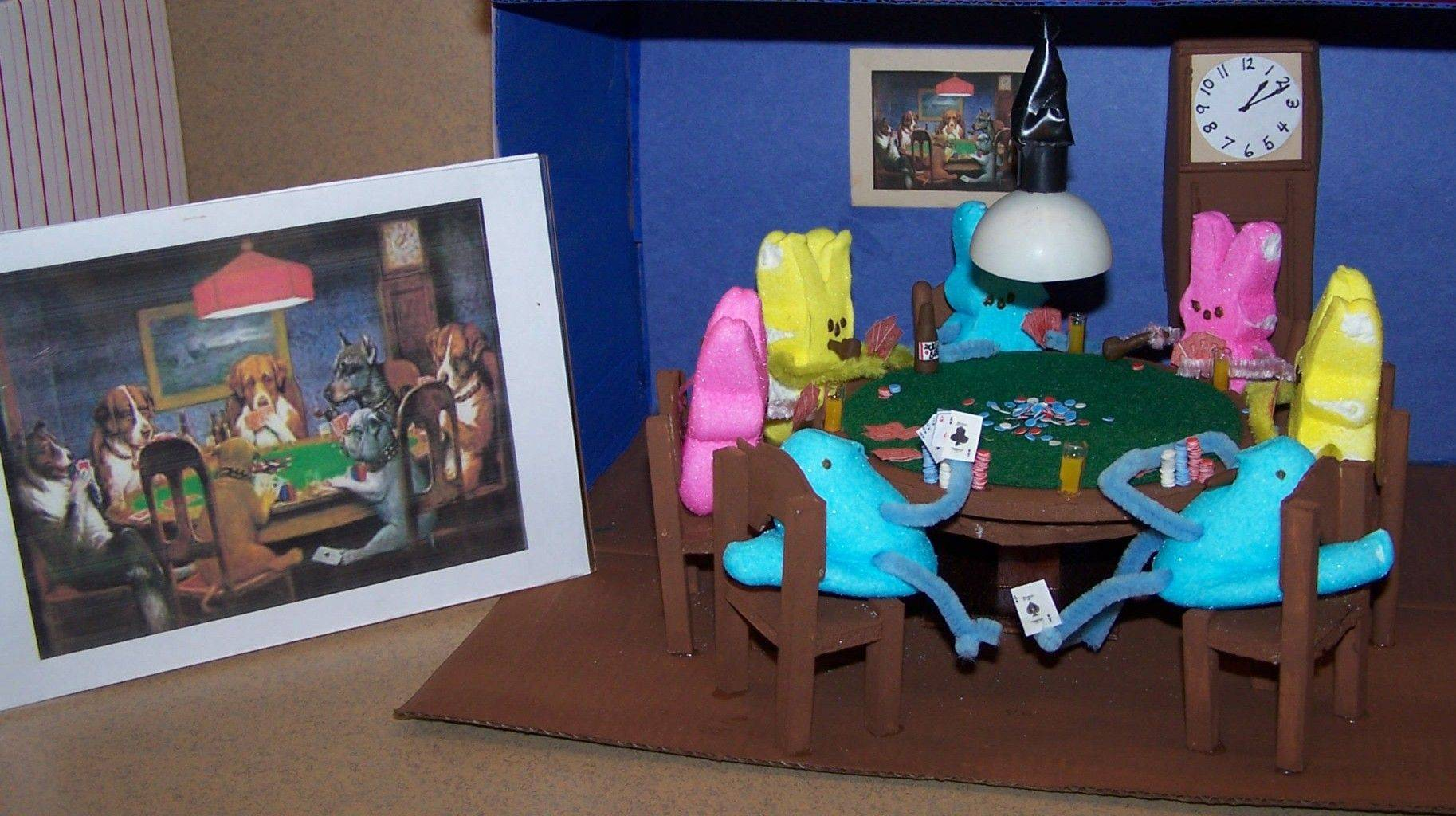 A card game is featured in a Peeps diorama created by Holmstad residents in Batavia.