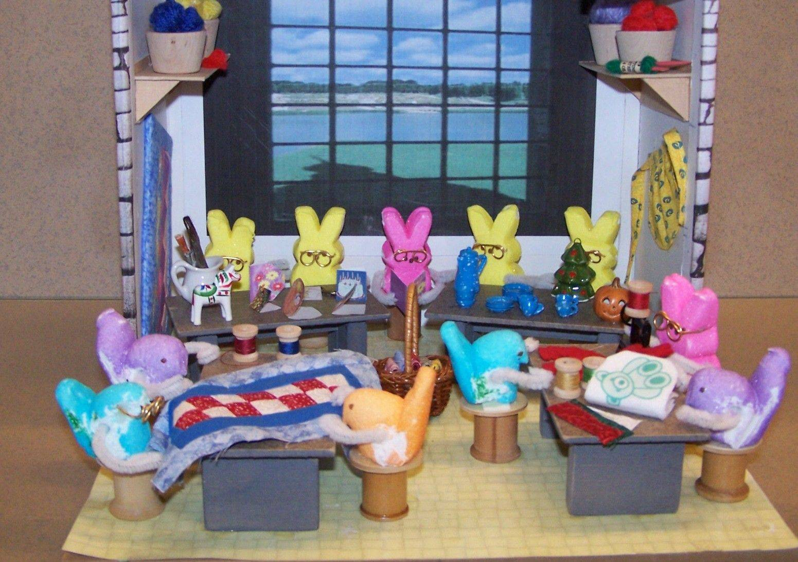 This Peeps diorama is based on the craft room at the Holmstad.