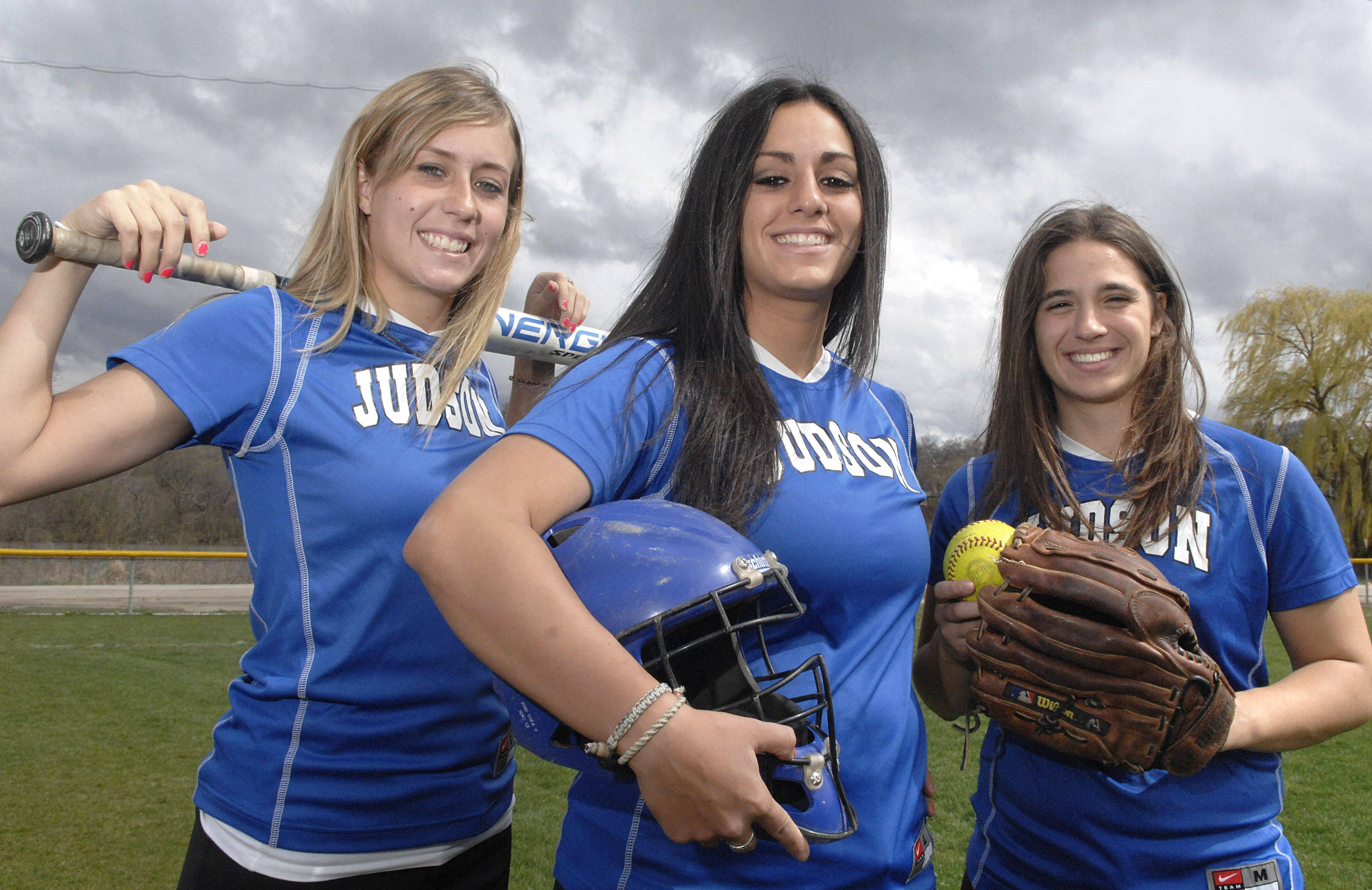 Judson softball seniors Carrie Sensor, from left, Nicole Dimiceli and Kristin Krueger have led the Eagles to a 31-13 season that has included the program's first conference championship.