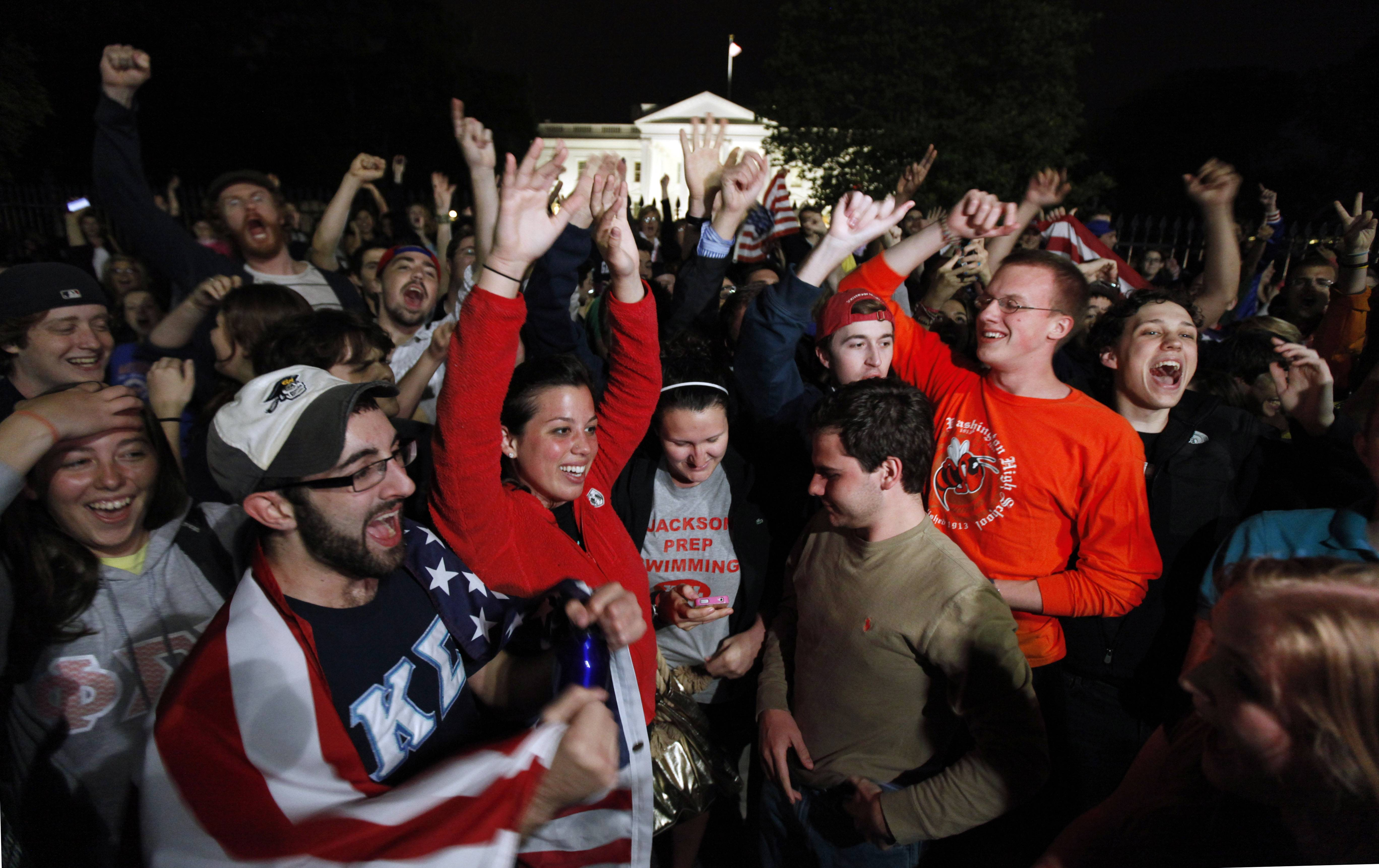 "People gathered Sunday night outside the White House upon hearing the news of Osama Bin Laden's death in a U.S. military operation. Chants of ""U-S-A!"" spread throughout the crowd."