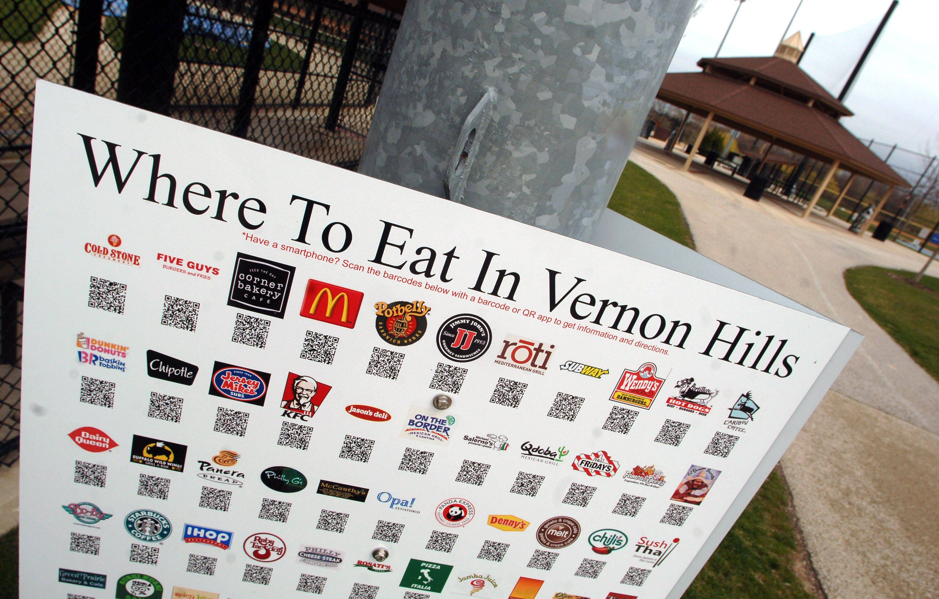 Smartphone users can scan a special code on signs posted at the Vernon Hills Athletic Complex to receive information about 55 local restaurants.