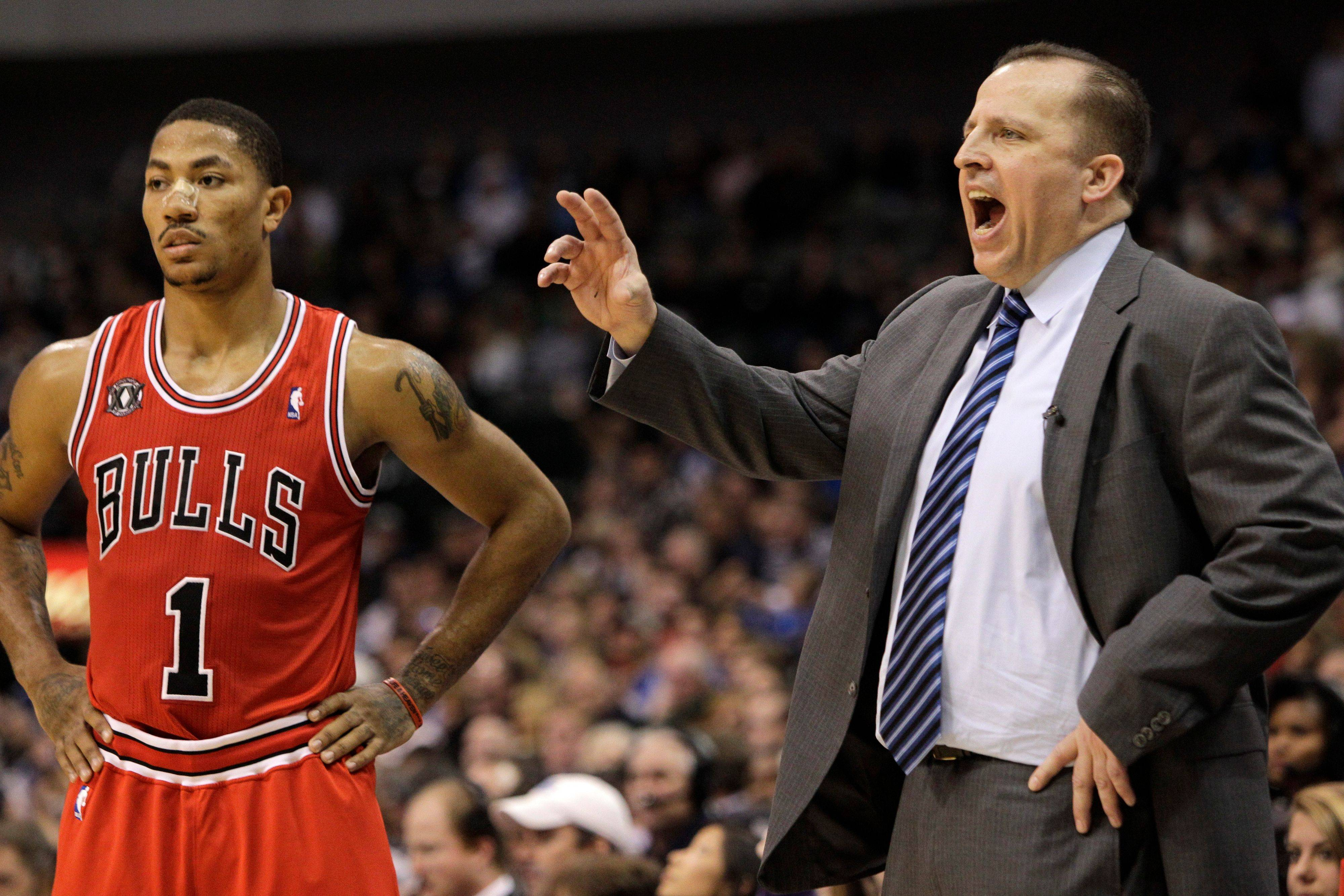 Tom Thibodeau and Chicago Bulls' Derrick Rose during a game against the Dallas Mavericks.