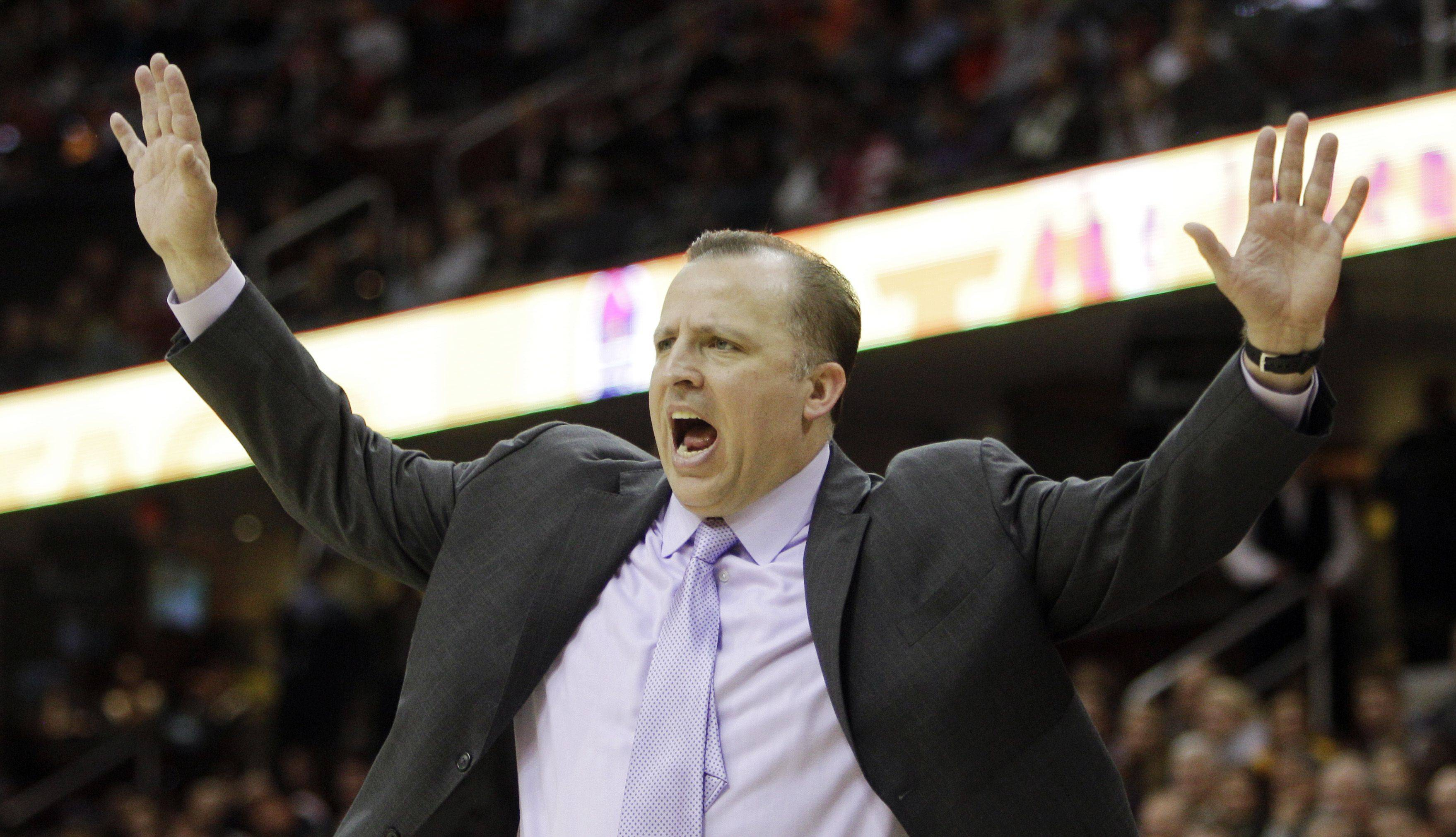 Chicago Bulls coach Tom Thibodeau gestures during a game against Cleveland.