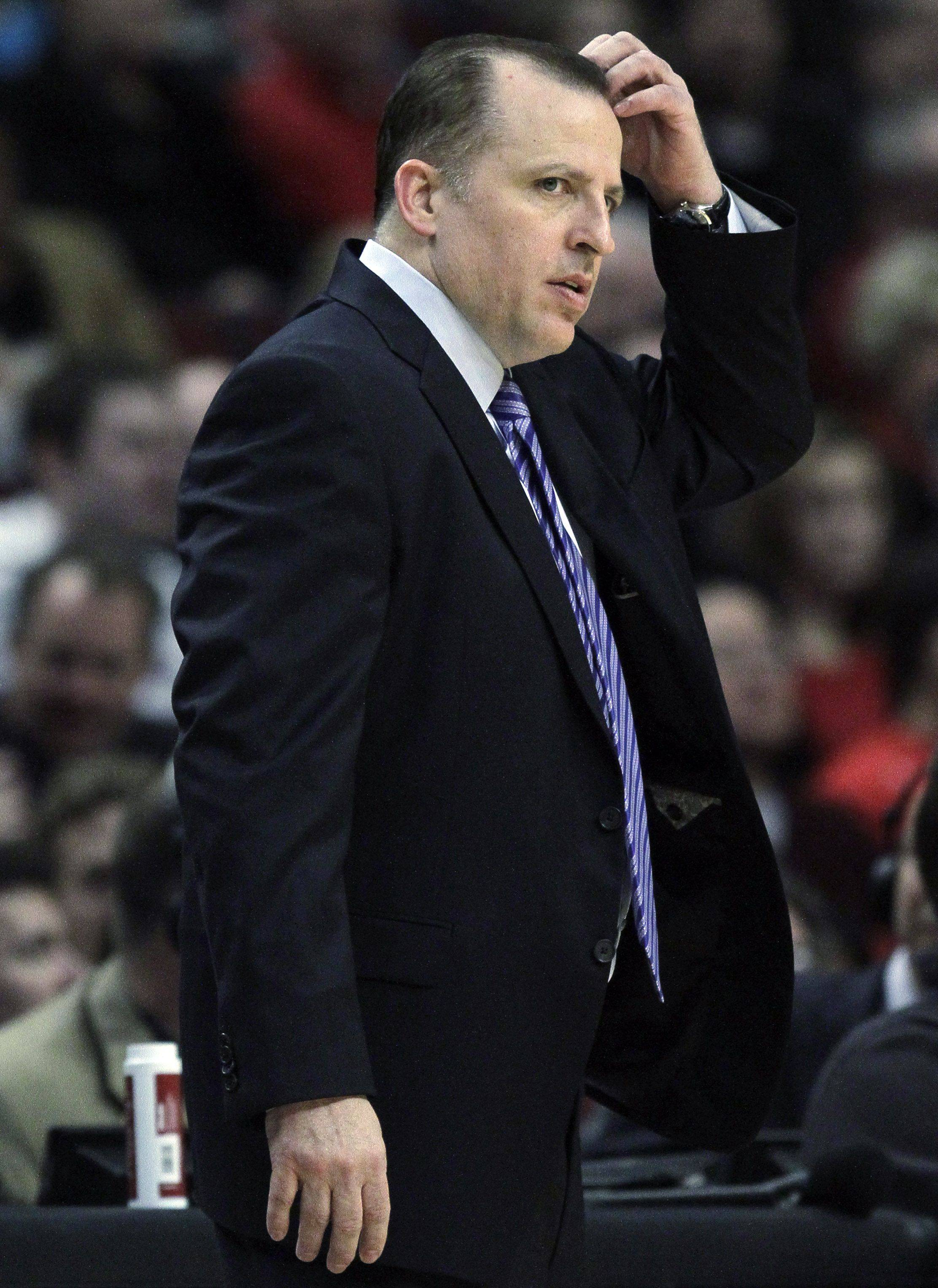 Chicago Bulls head coach Tom Thibodeau reacts as he watches his team play against the Houston Rockets.