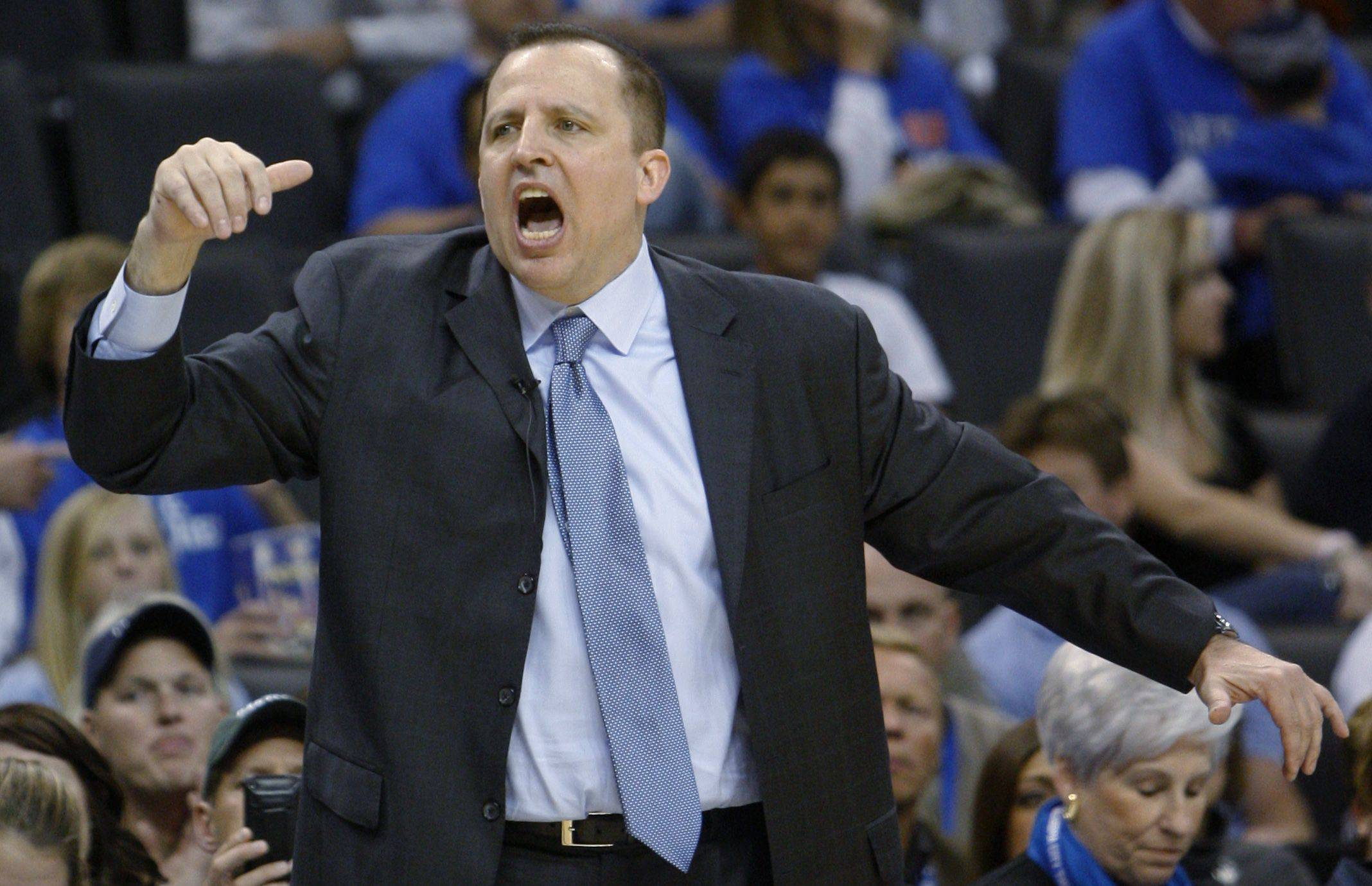 Chicago Bulls coach Tom Thibodeau shouts to his team during a game against the Oklahoma City Thunder.
