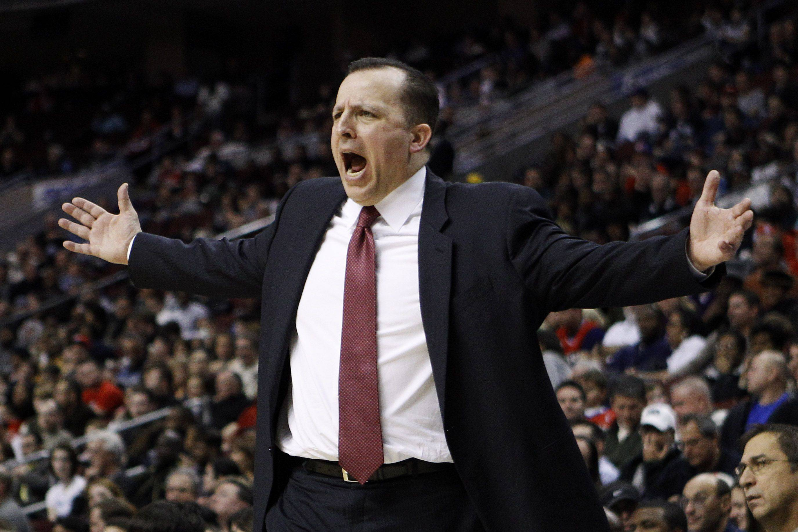 Tom Thibodeau reacts to a call in the second half of a game against the Philadelphia 76ers.