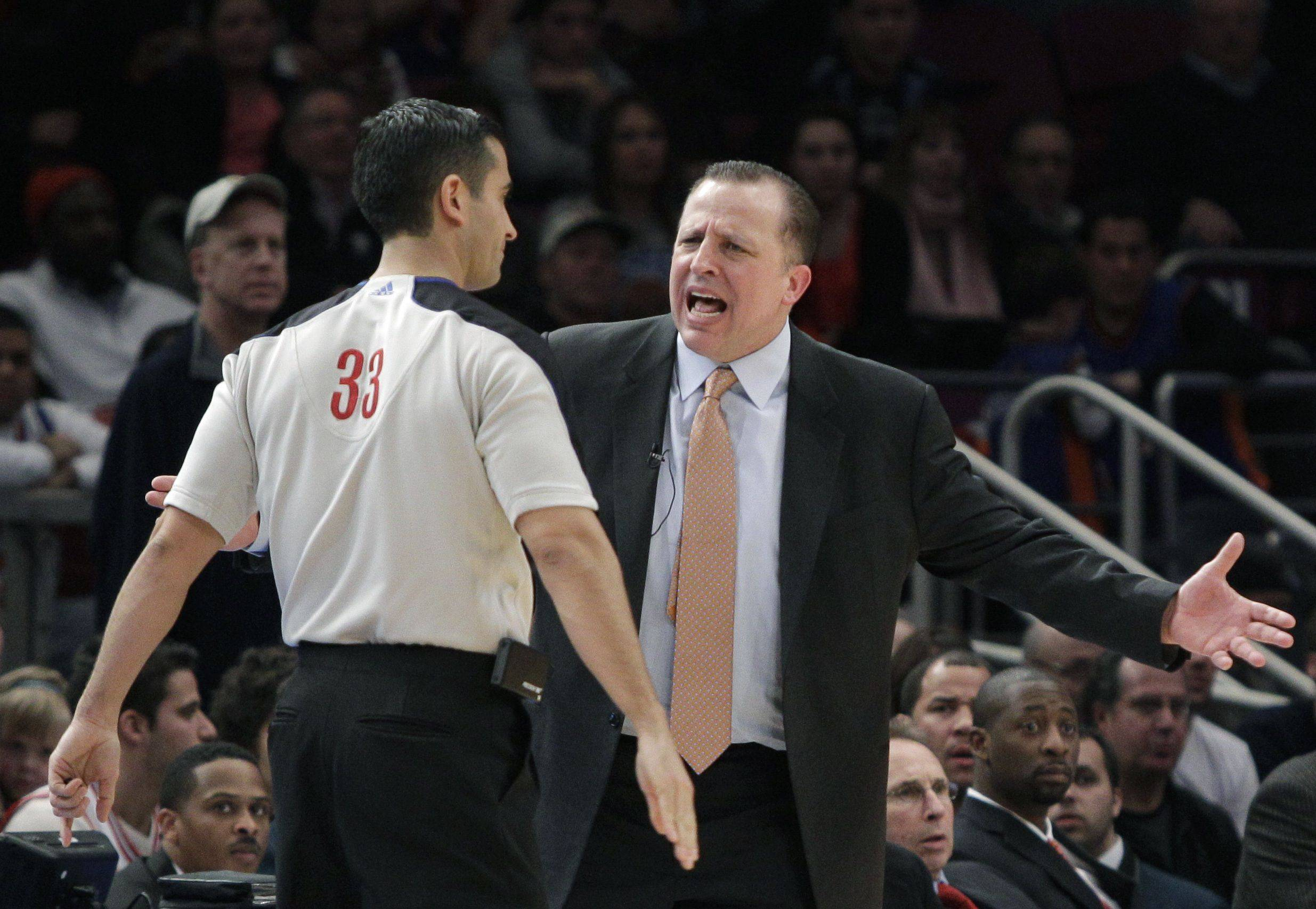 Chicago Bulls head coach Tom Thibodeau complains to referee Sean Corbin in the second half of the Bulls 103-95 loss to the New York Knicks.