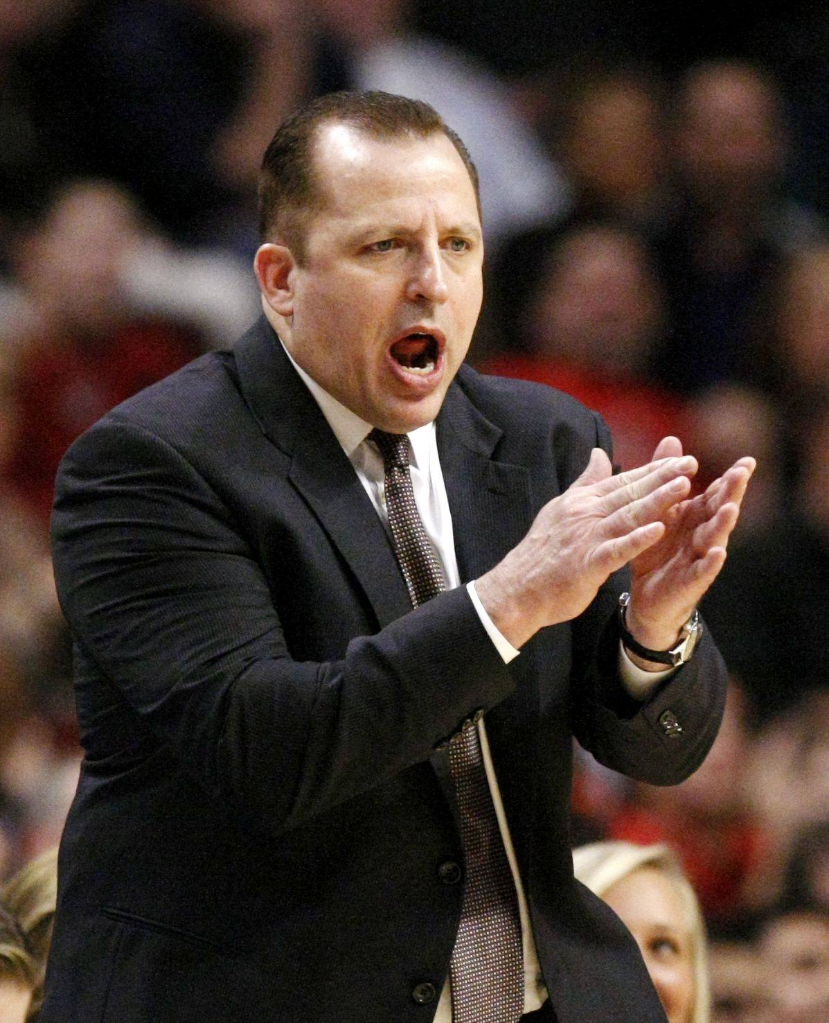 Bulls head coach Tom Thibodeau encourages his team during a game against the Atlanta Hawks.