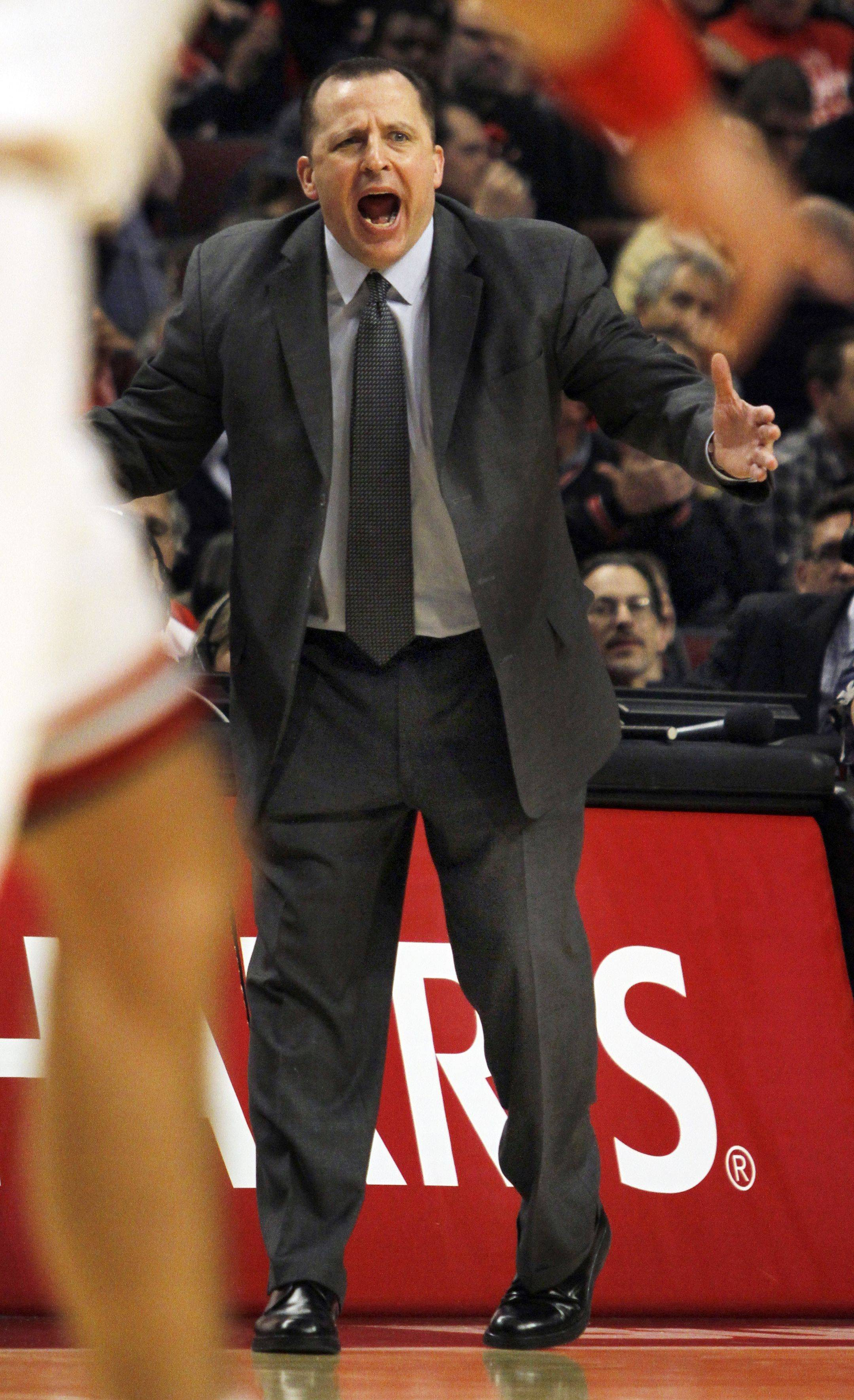 Chicago head coach Tom Thibodeau calls out to his players during a game against theh Portland Trail Blazers.