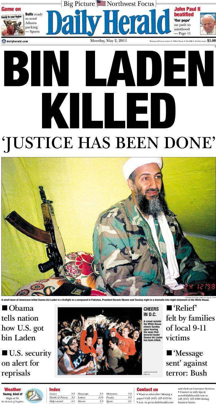 Images: Front page reports of bin Laden's death