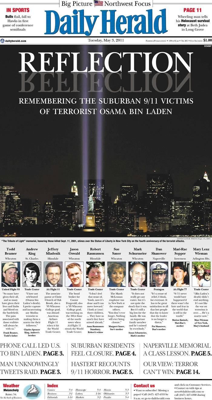 The world reacts: Images of front pages the day after bin Laden's death