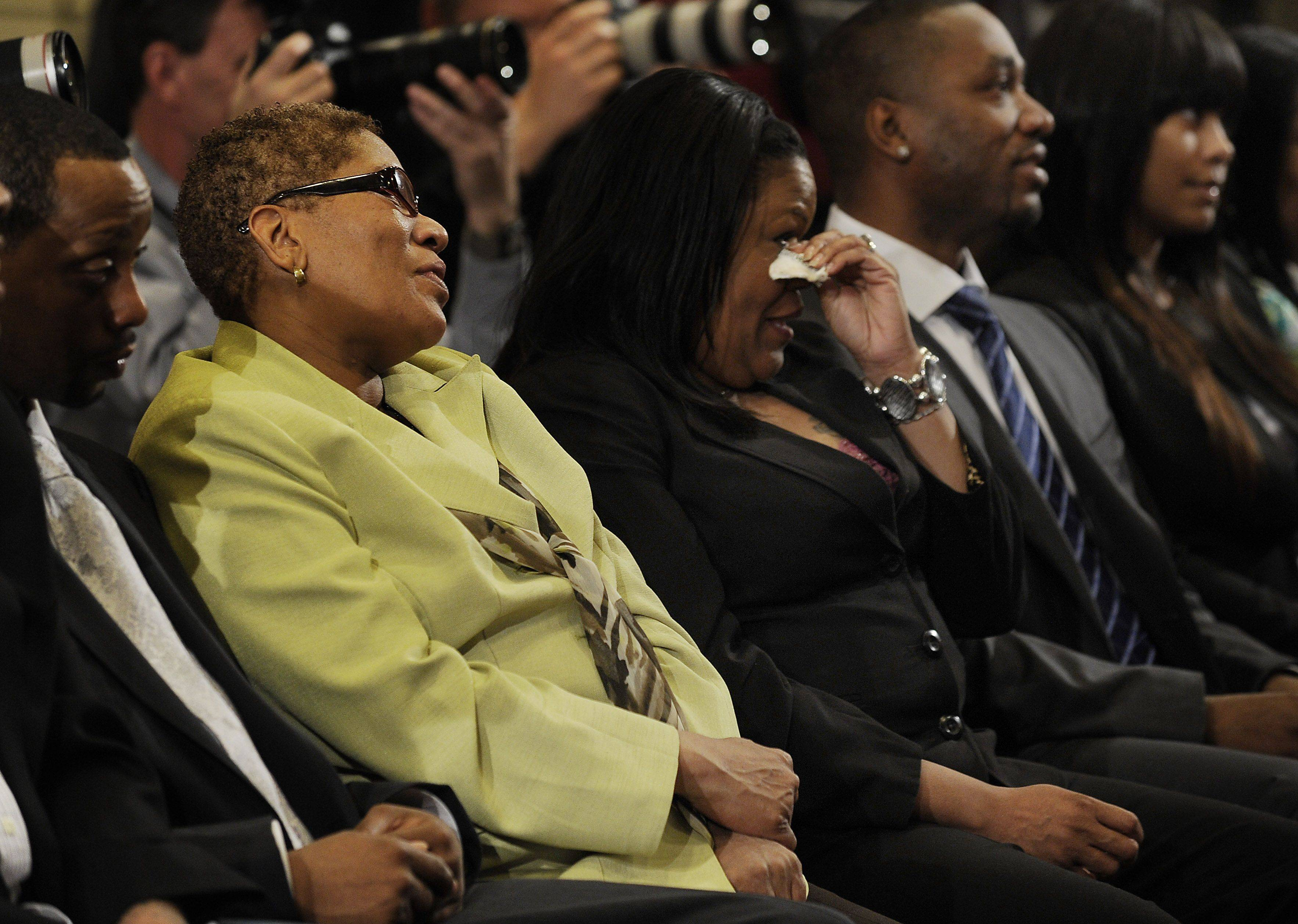 Derrick Rose is named as the NBA's MVP in Lincolnshire on Tuesday. On hand was his mom, Brenda Rose, left, looking on while other family members cry tears of joy.