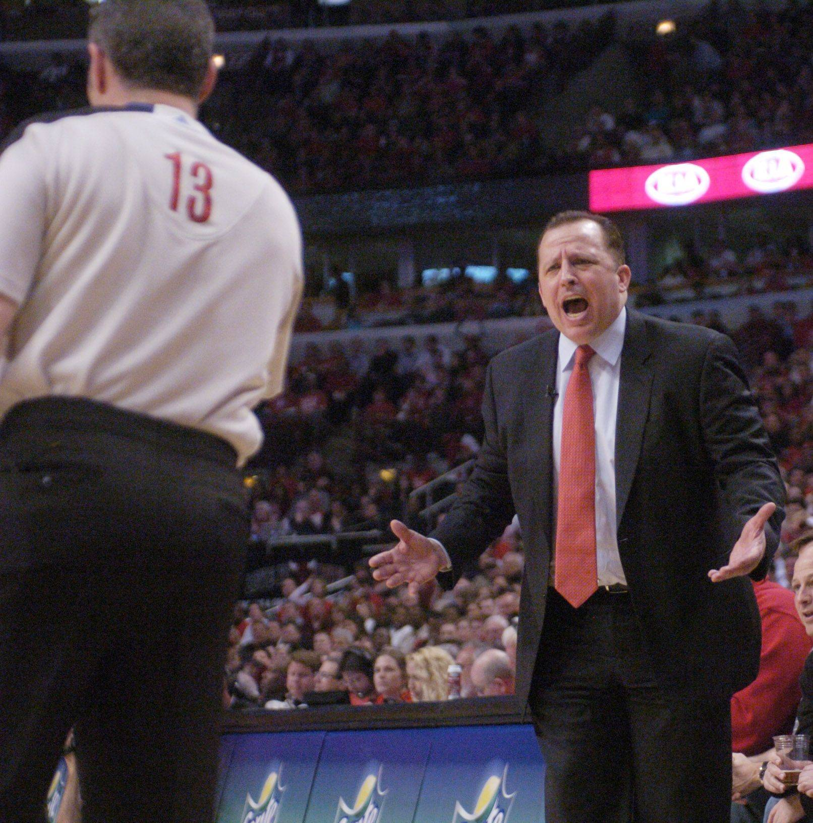 Bulls coach Tom Thibodeau draws a technical foul during Monday's game against the Atlanta Hawks.