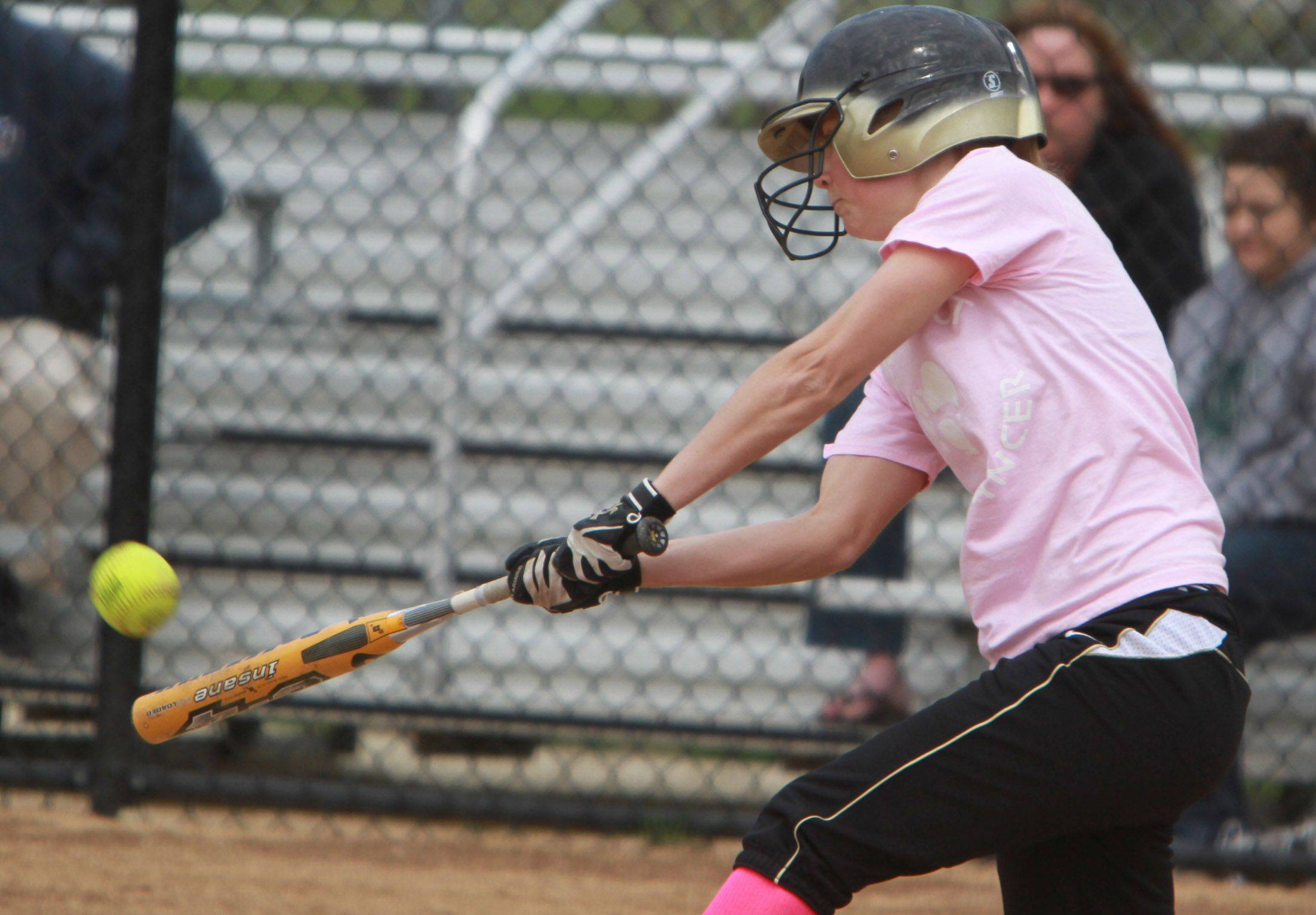 Grayslake North's Brianna Leon hits a grand slam against Grayslake Central Saturday.