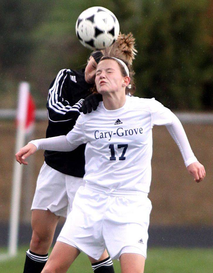 Megan Townsley of Cary-Groveand Abigail Nordeenof Huntley battle for control of the ball at Al Bohrer Field on the campus of Cary-Grove High School Thursday night.