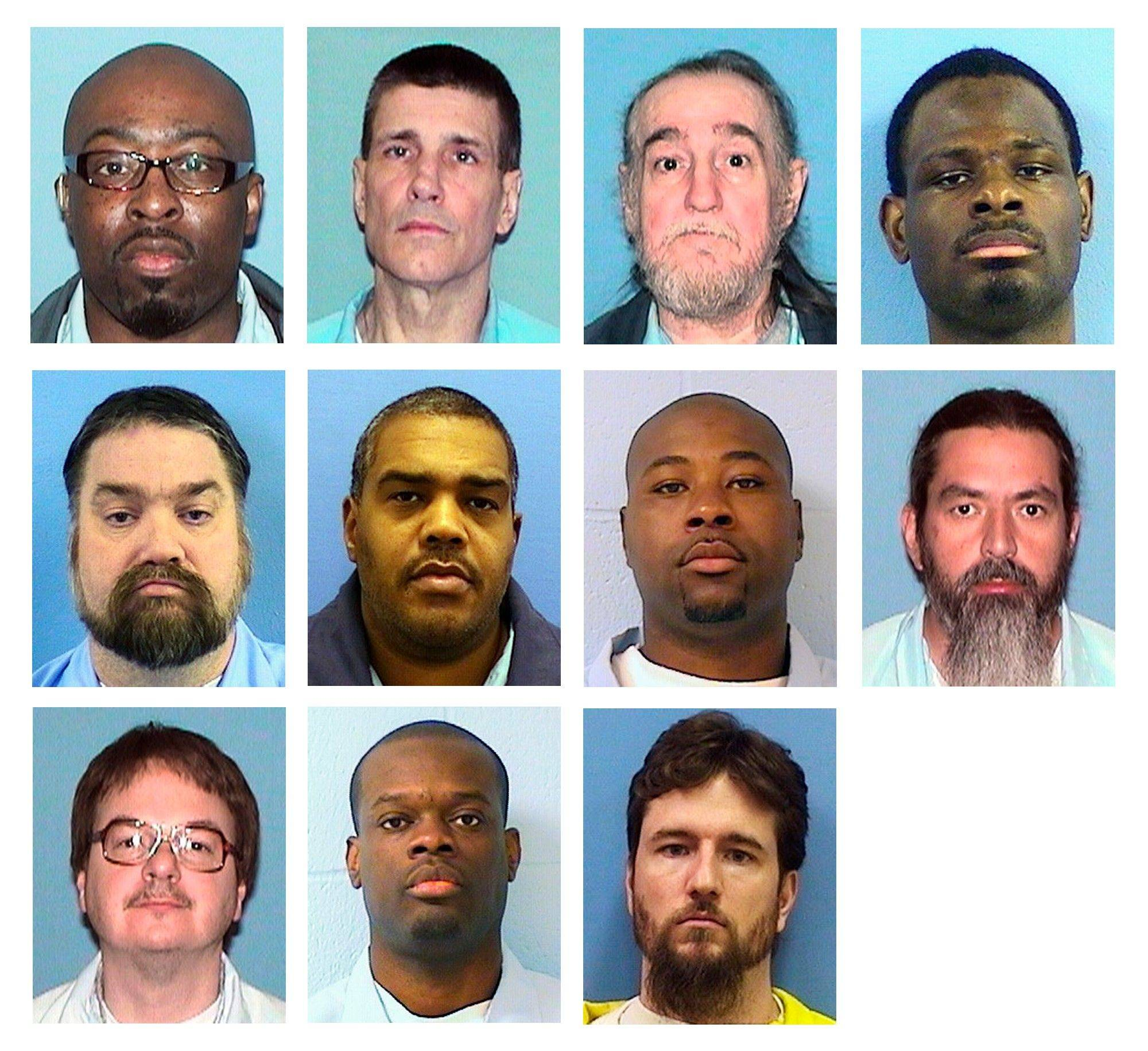 This combination of undated photos provided by the Illinois Department of Corrections shows 11 inmates who are plaintiffs in a class-action lawsuit that was filed Wednesday in Chicago claiming Illinois violates the rights of deaf prisoners by limiting access to interpreters and other assistance behind bars. The inmates are, top from left: Ralph Holmes, 41, Daniel Baxter, 57, George Childress, 60, Hannibal Eason, 28; middle from left: Curtis Foster, 46, Curtis Halterman, 40, Billy Johnson, 28, Wendell Lancaster, 37; bottom from left, Daniel Lord, 44, Aaron Winfert, 31, and Jason Wright, 32.