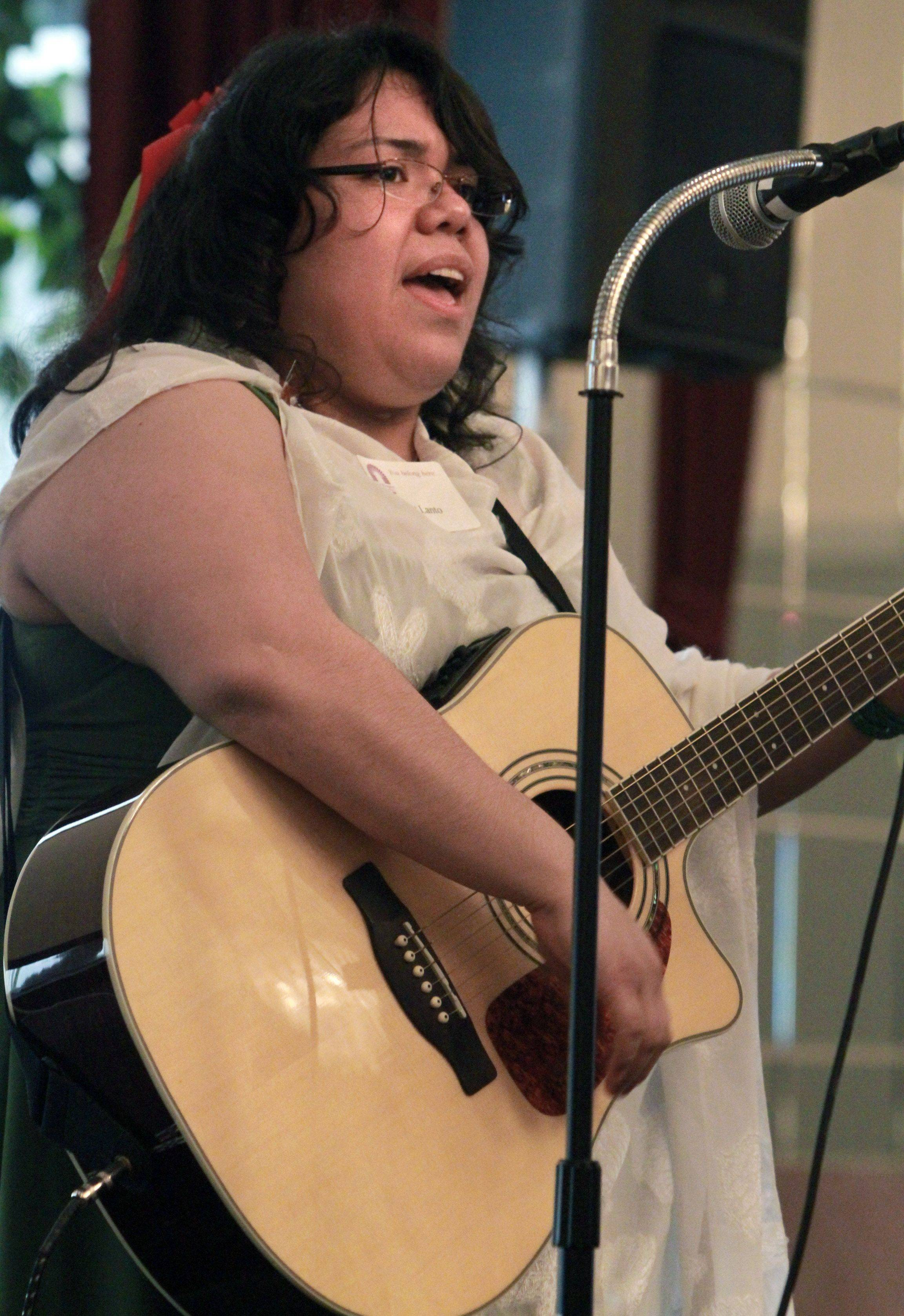 "Xochitl Lanto with Higher Up Ministries sings ""Beautiful, Beutiful"" by Francesca Battistelli at the 12th Annual Mayor�s Prayer Breakfast at Bristol Court Banquets."