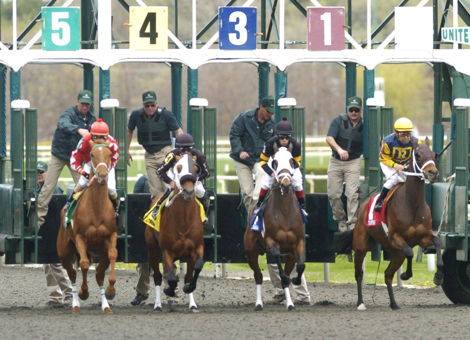 Horses leave the starting gate in the first race at Arlington Park Friday.