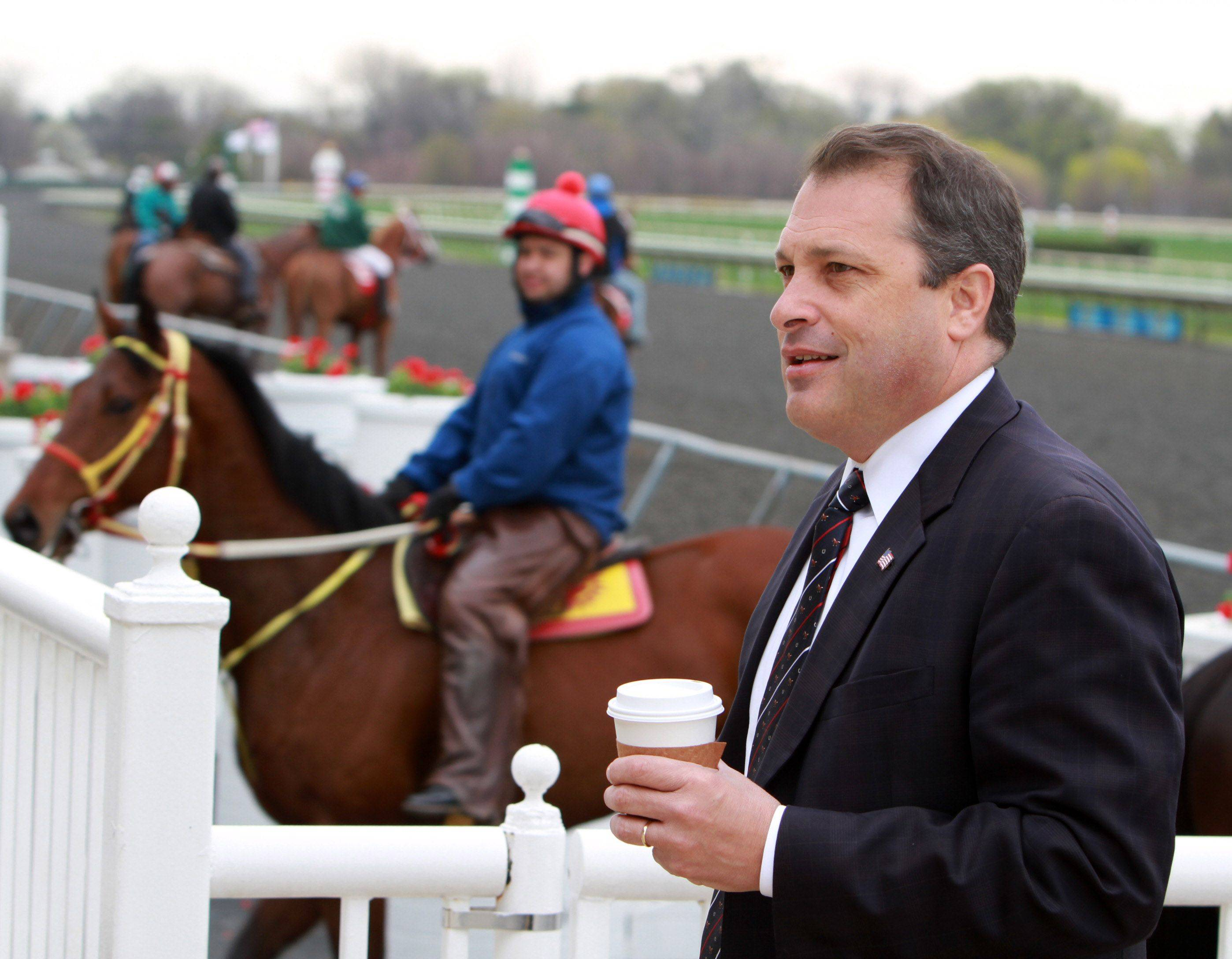 Tony Petrillo, Arlington Park's new general manager, tours the facility Thursday ahead of the racetrack's opening today.