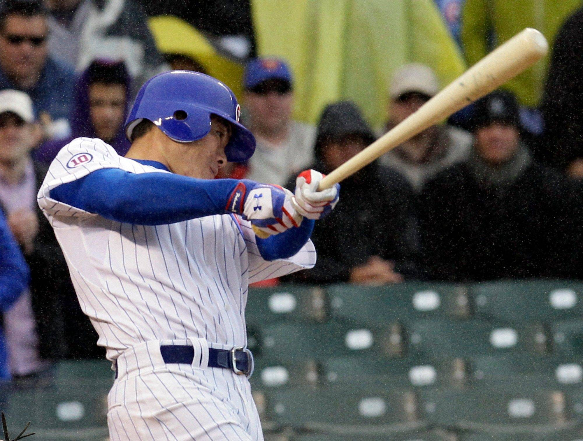 Kosuke Fukudome drives in the game-winning run with a single in the ninth inning Saturday at Wrigley Field. The Cubs beat the Reds 3-2.
