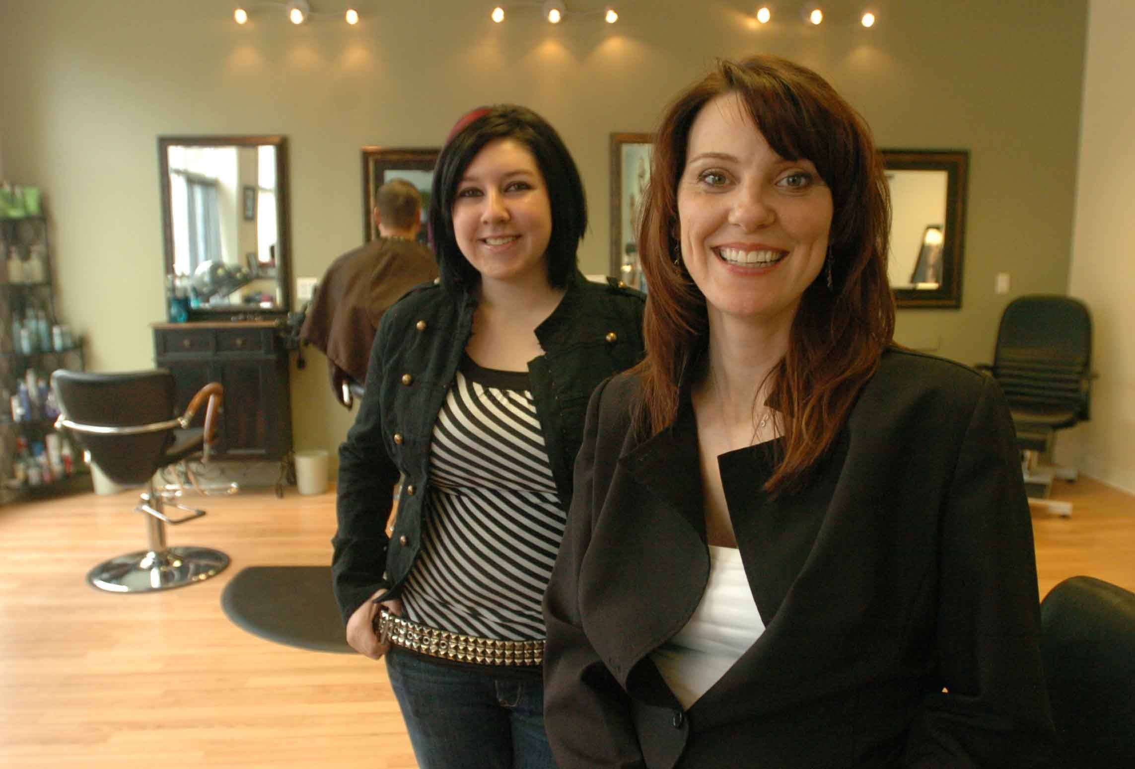 Sam Tirilich and Amy Madsen, right, of Night and Day Salon in Lombard say they have found success during their salon's first year.