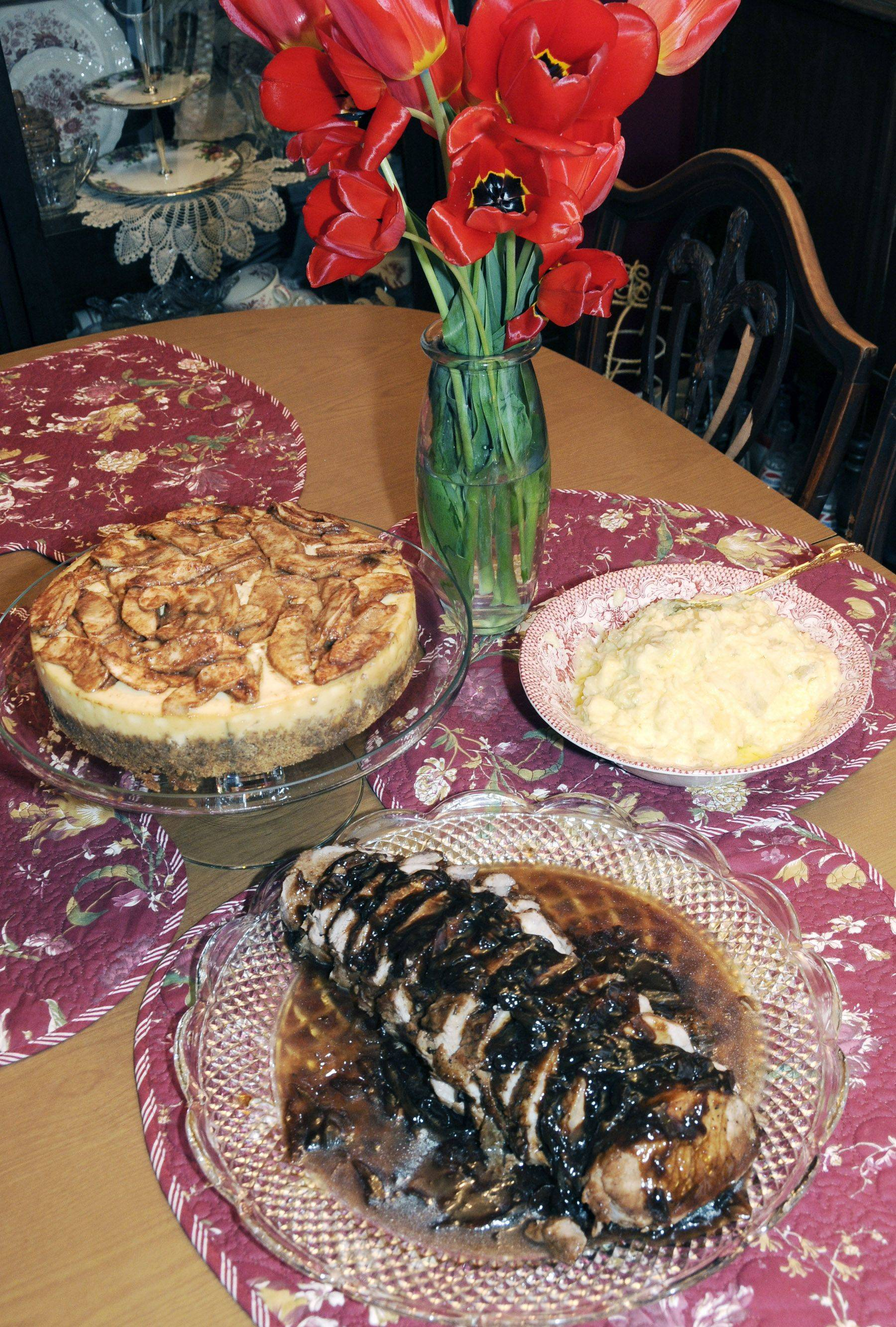 Kathy Amant's Terriyaki Pork Loin Roast takes center stage, but her Dutch apple cheesecake, left, and garlic mashed potatoes make a strong supporting cast.