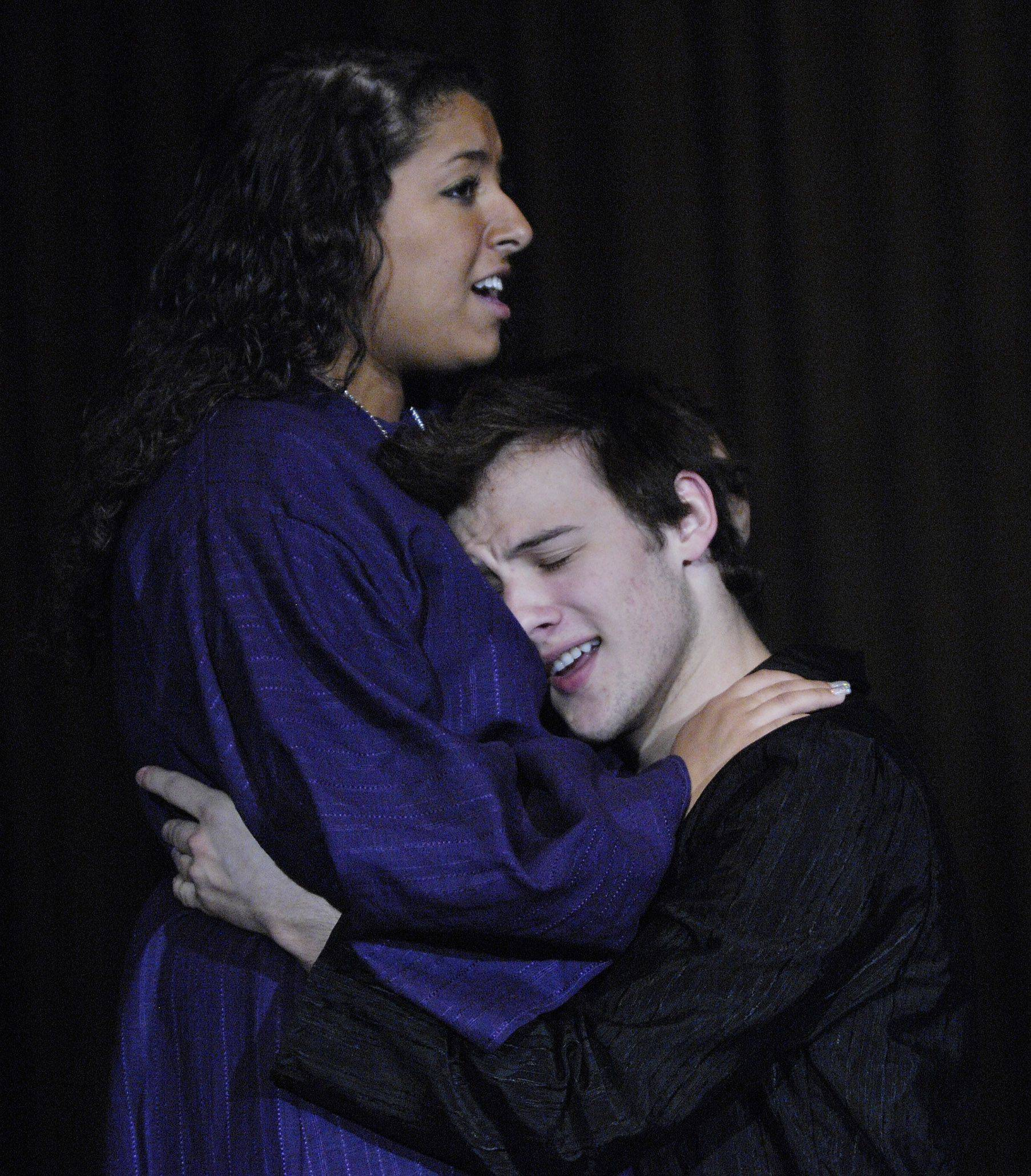 "Nadia Pelletier as Aida and Jeff Pierpoint as Radames rehearse their roles in Community High School's spring musical, ""Aida."""