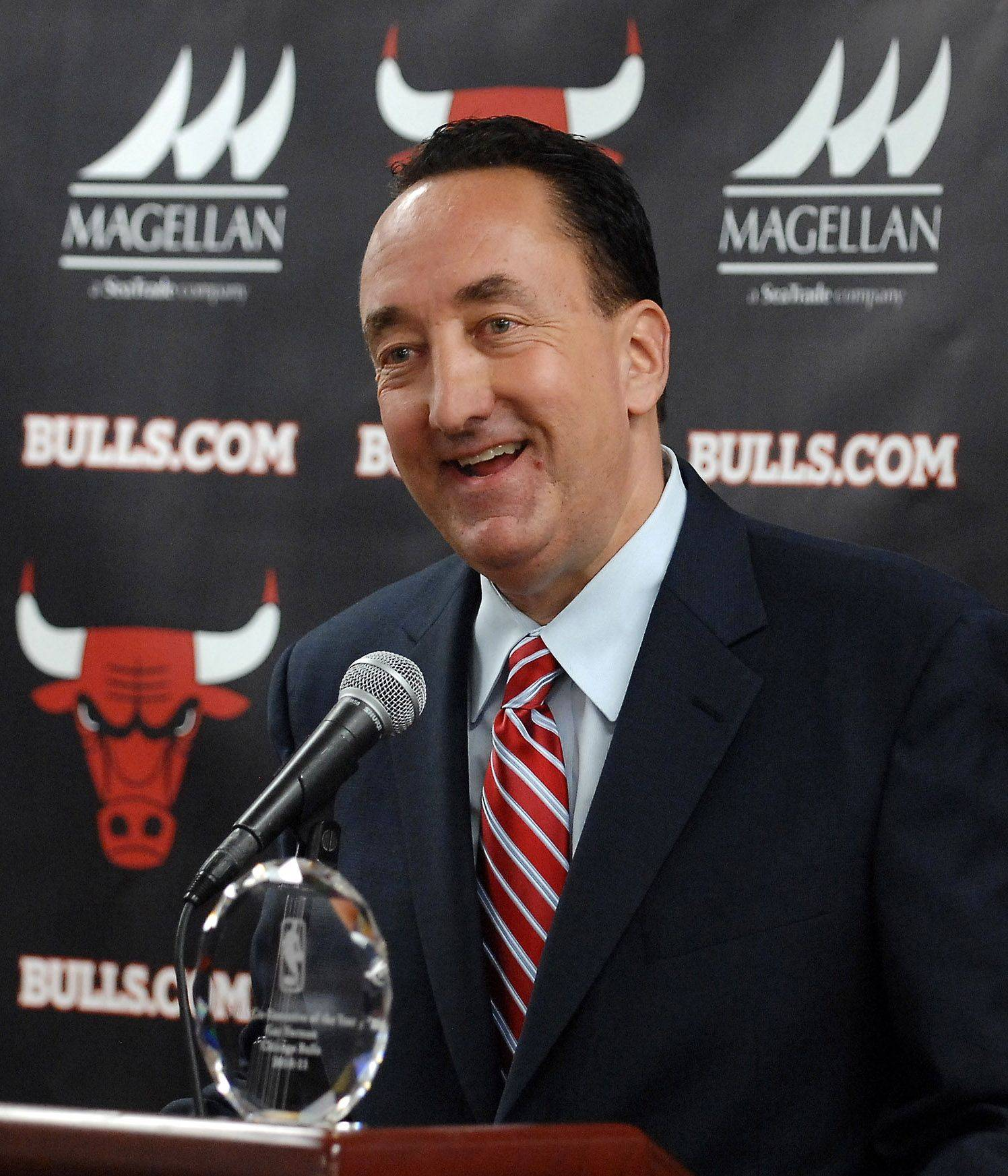 Bulls general manager Gar Forman holds a press conference to acknowledge his Co-Executive of the Year award before Tuesday night's game 5 of the NBA Eastern Conference semis. He shared the award with Pat Riley of the Miami Heat.