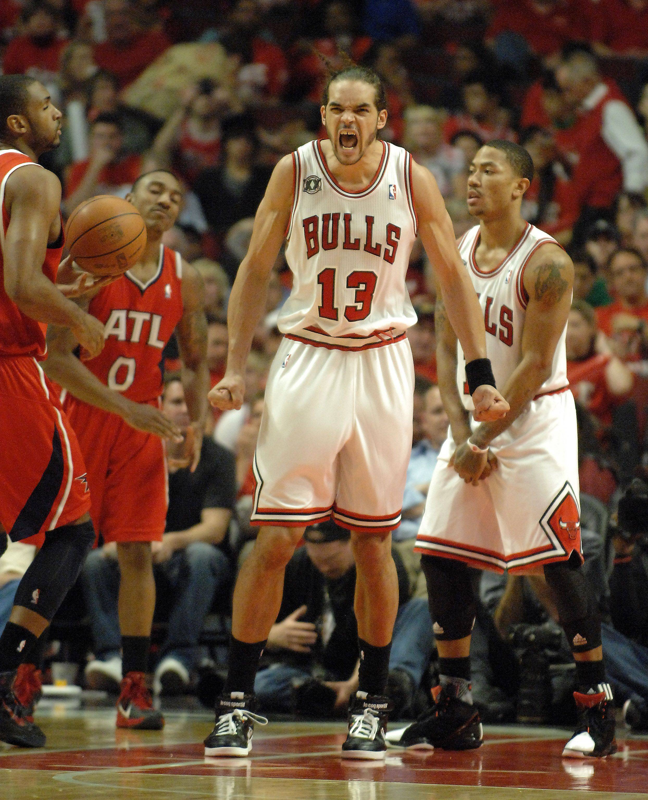 Joakim Noah gets fired up during game 5 of the Eastern Conference semifinals.