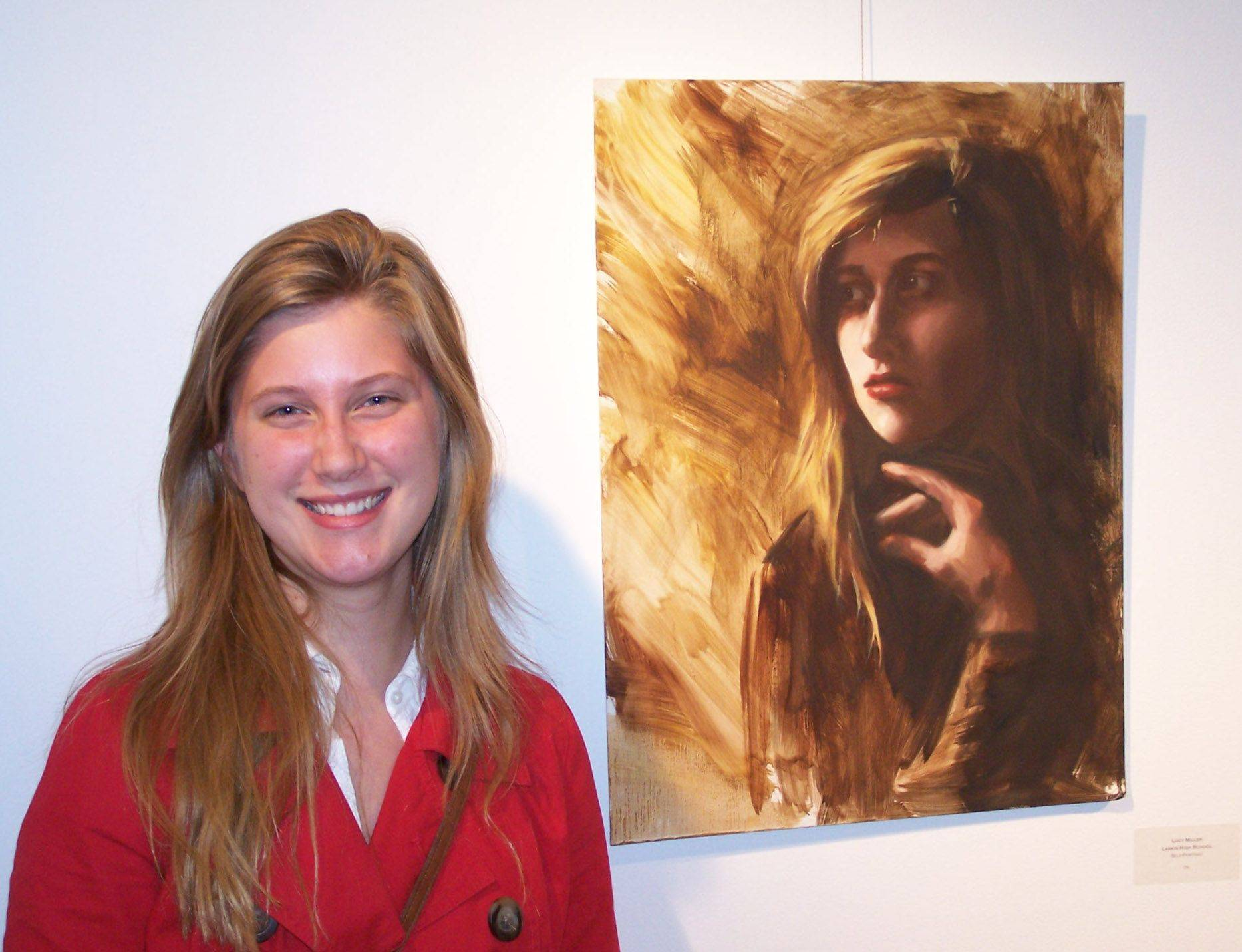 "Lucy Miller of Larkin High School in Elgin won the 14th Congressional District art competition with her oil painting titled ""Self Portrait."""