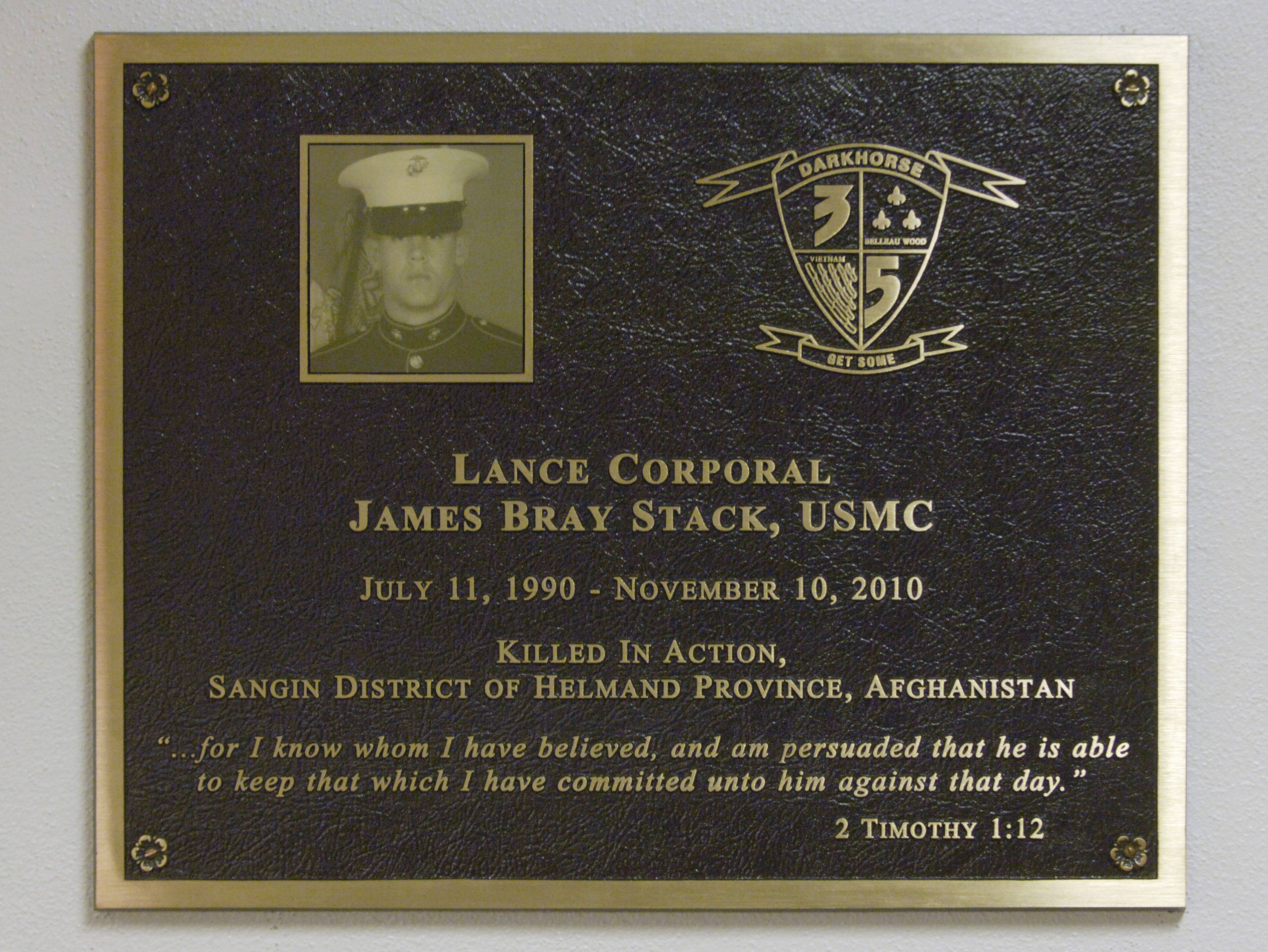 An anonymous donor funded this plaque that hangs outside a gym at Christian Liberty Academy dedicated to the memory of James Stack, an Arlington Heights Marine killed in Afghanistan.