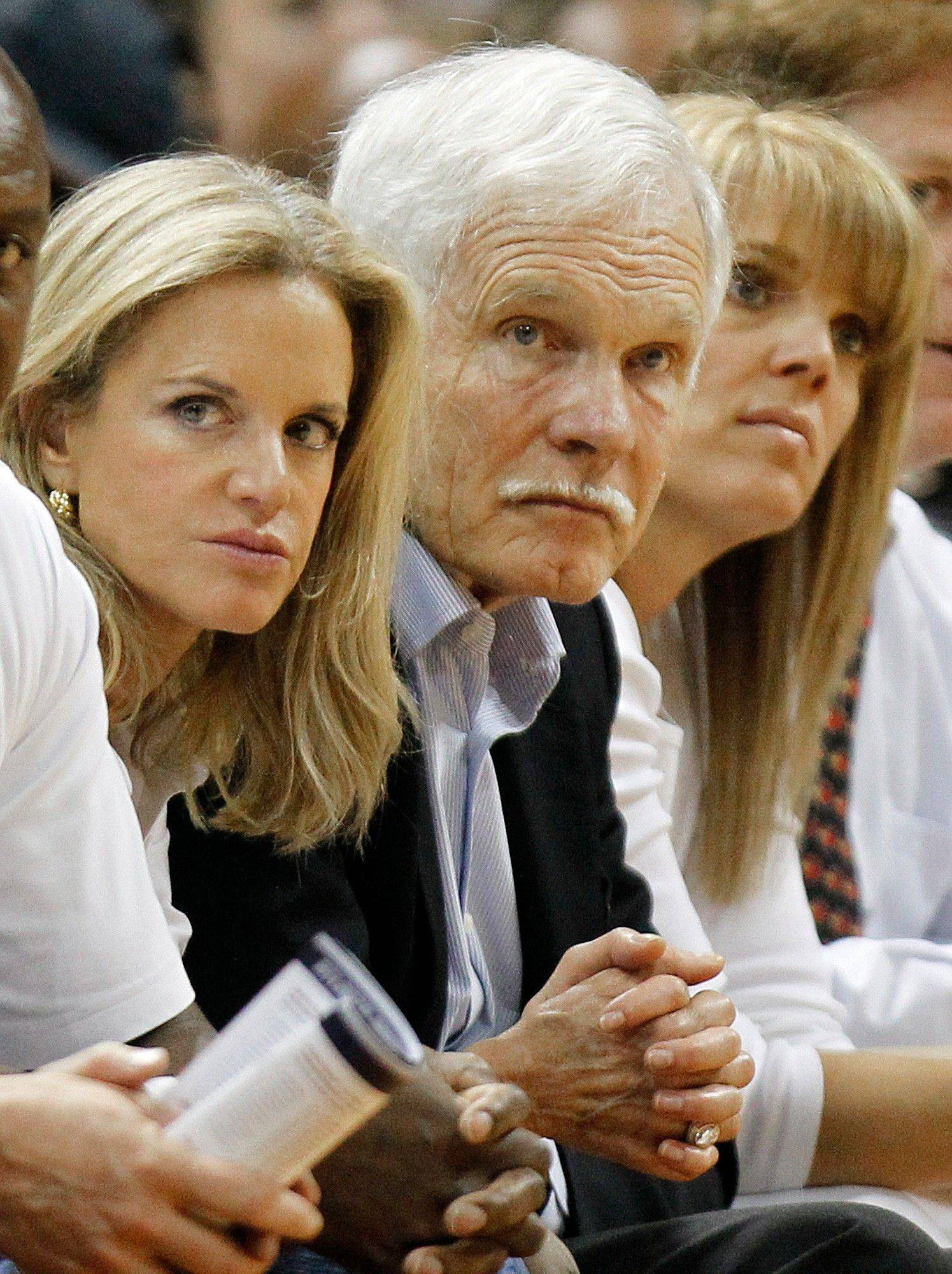Ted Turner watches play between the Chicago Bulls and the Atlanta Hawks Thursday.