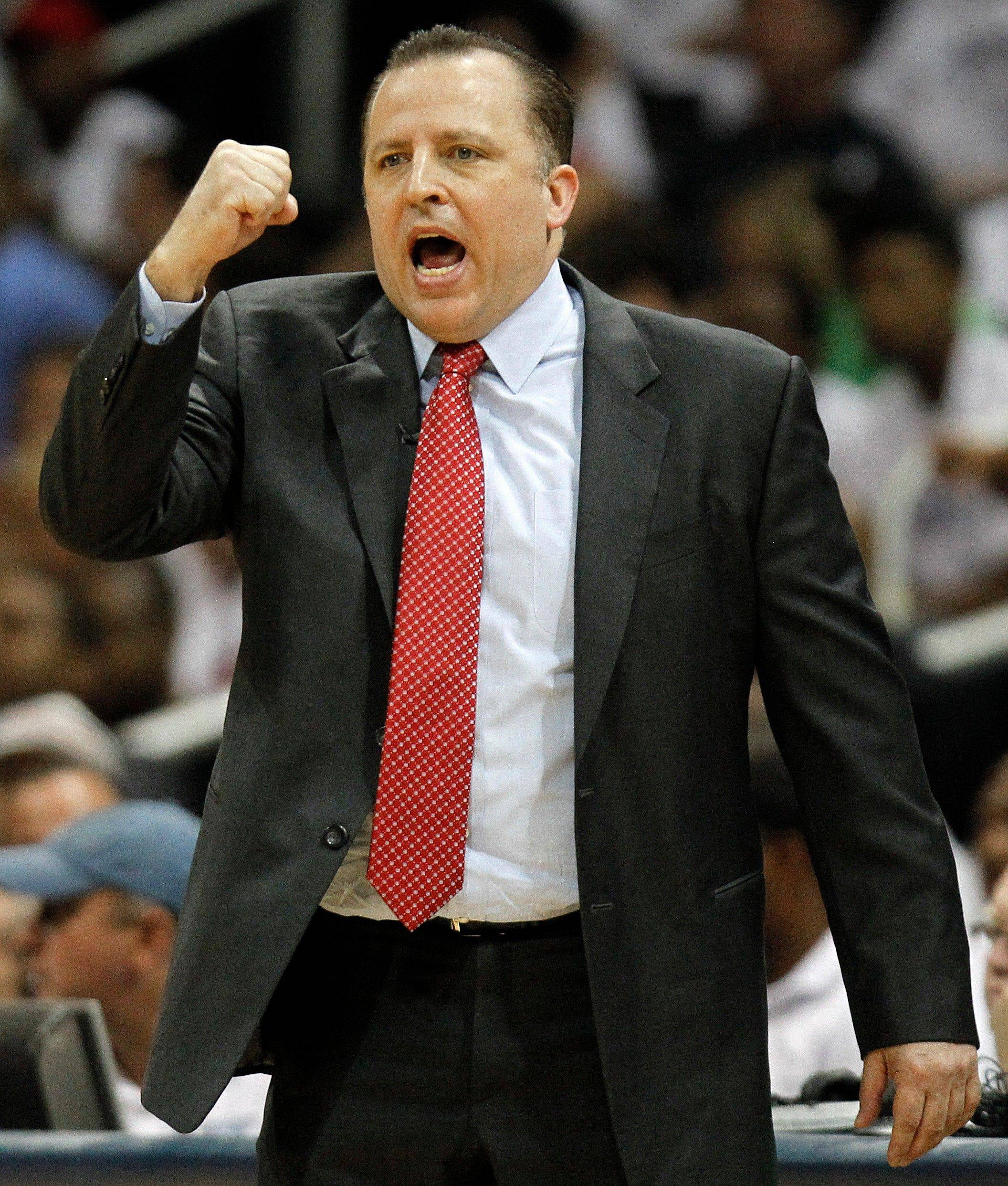 Chicago Bulls head coach Tom Thibodeau reacts to play against the Atlanta Hawks in the second quarter of Game 6 Thursday.
