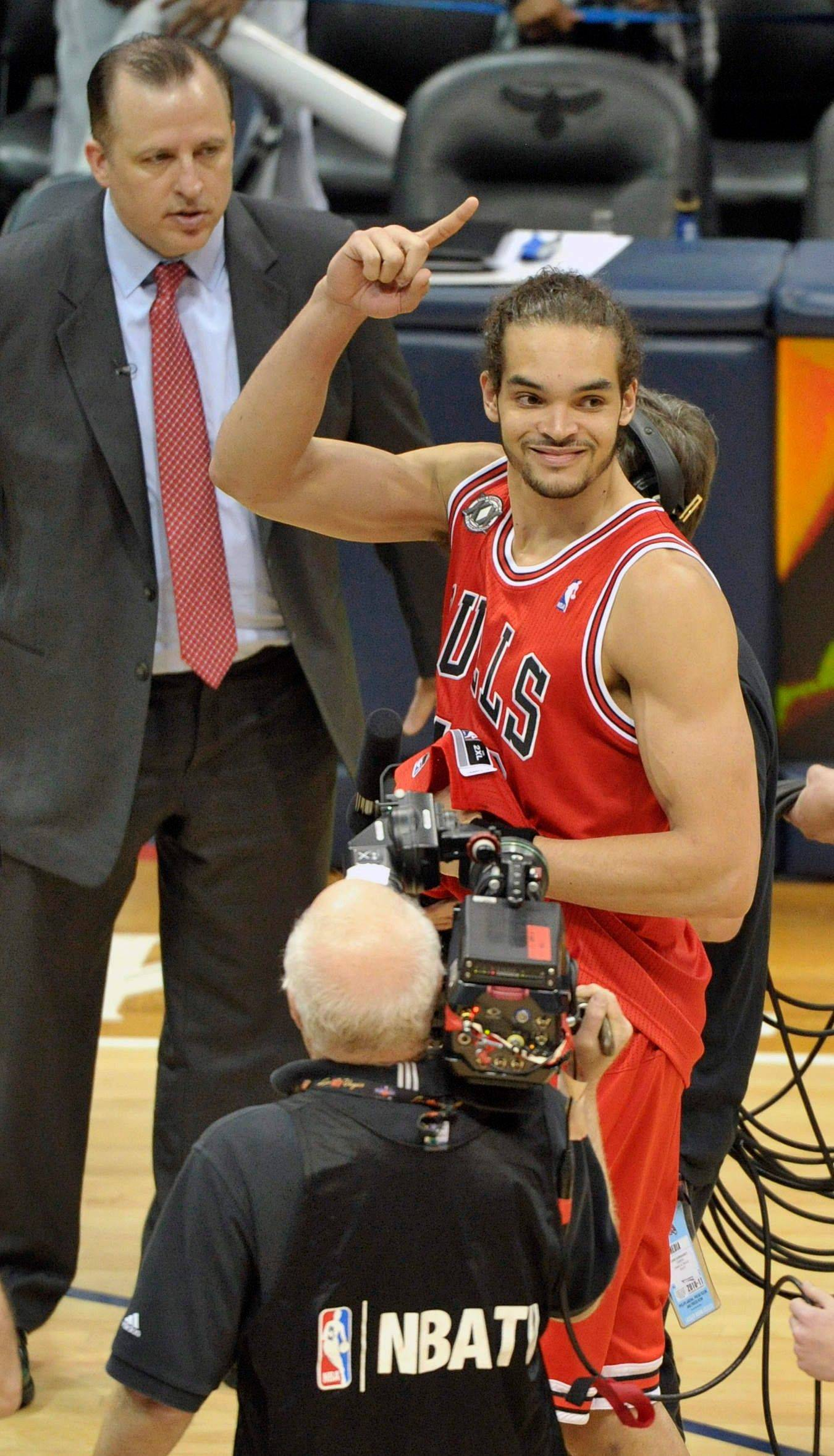 Chicago Bulls center Joakim Noah reacts after the teams' win against the Atlanta Hawks Thursday. Chicago won 93-73 to advance to the Eastern Conference Finals.
