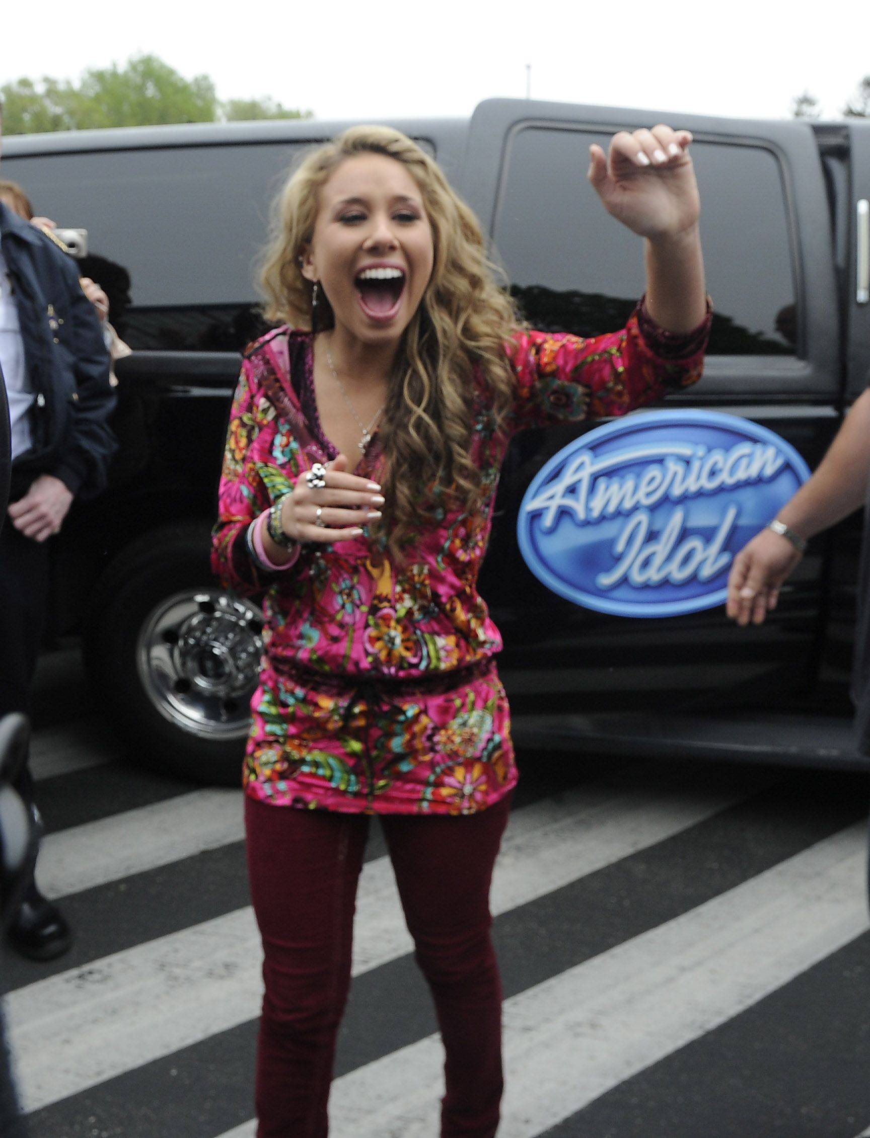 "Haley Reinhart greets her fans at the Wheeling High School on Saturday as part of her ""American Idol"" hometown tour."