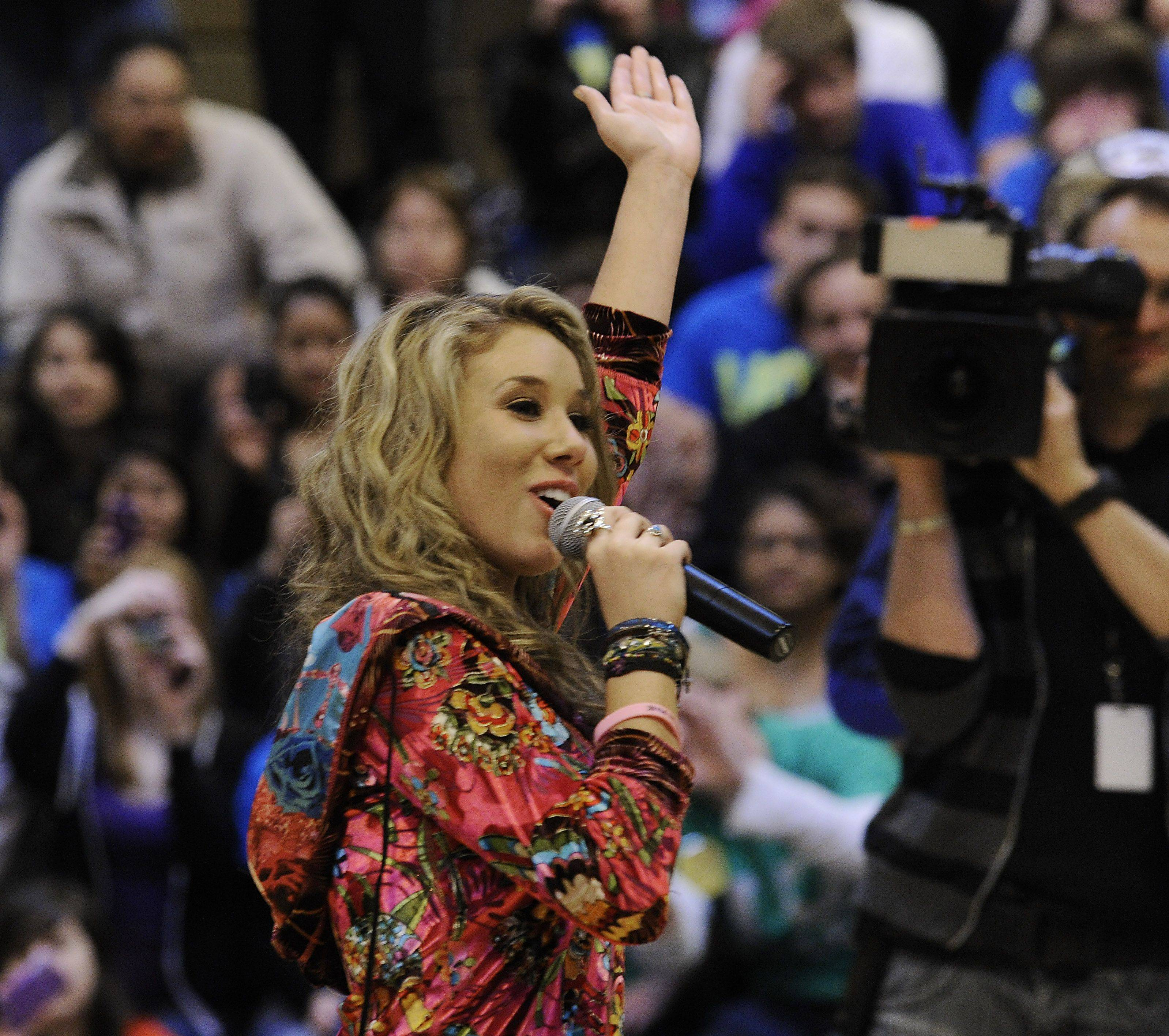 Haley Reinhart greets her fans at the Wheeling High School on Saturday as part of her American Idol hometown tour.