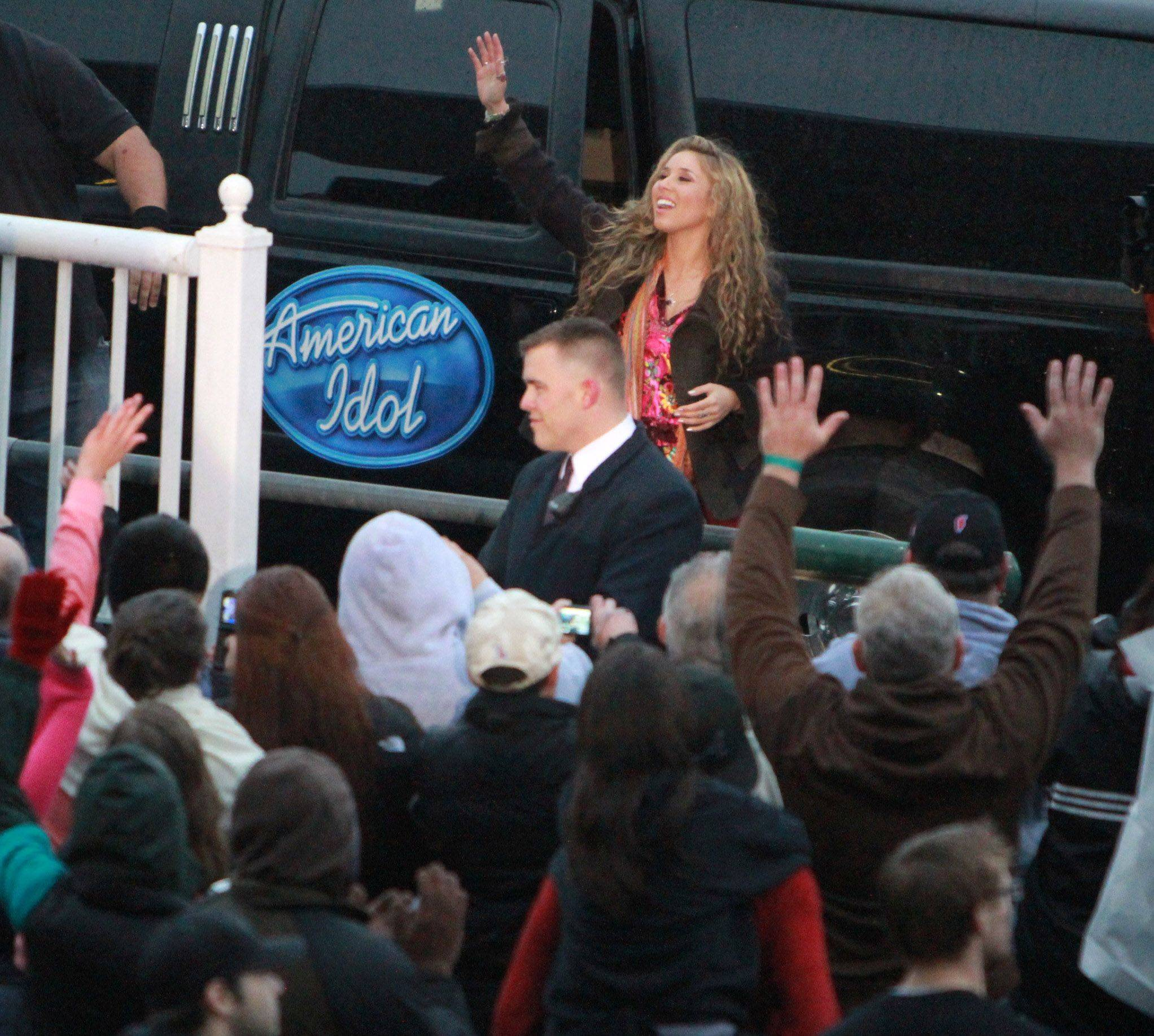 American Idol finalist Haley Reinhart arrives at Arlington Park on Saturday.