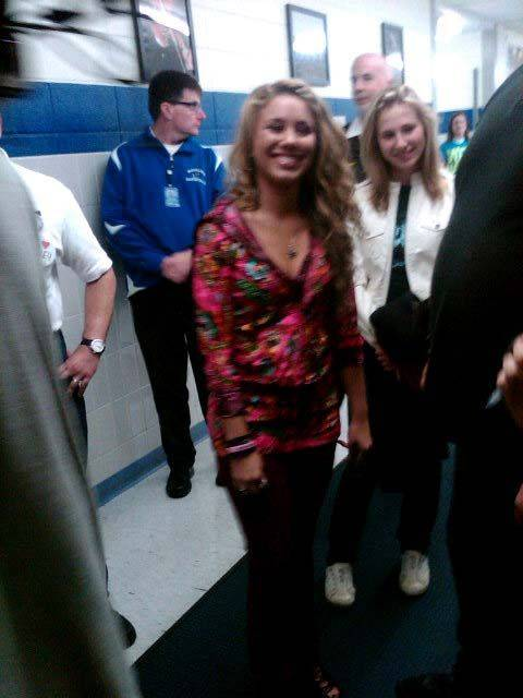 Haley Reinhart pauses for a photo during a visit to Wheeling High School Saturday.