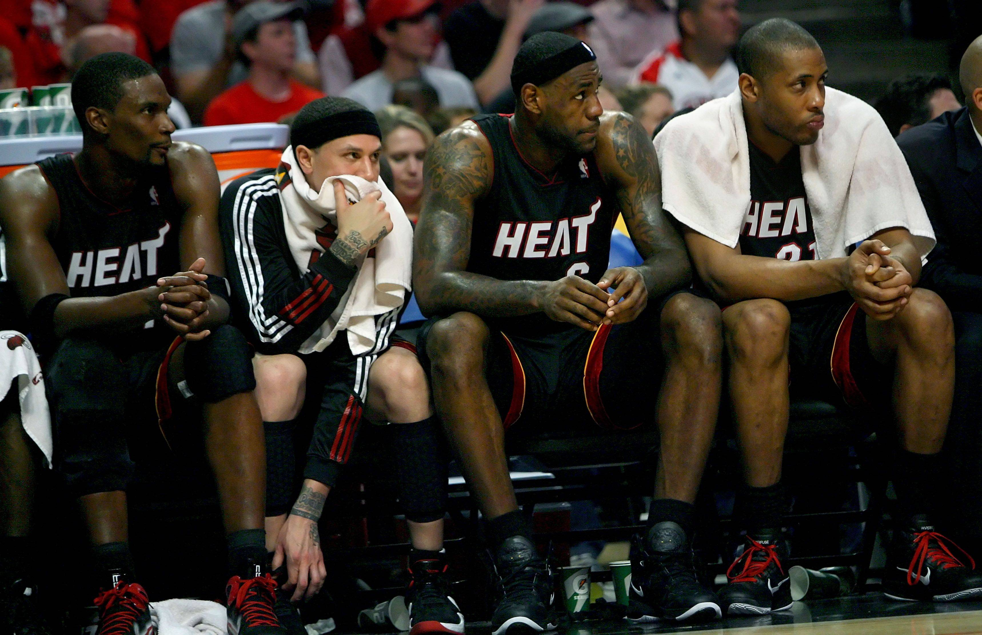 The heat bench can only watch as they lose 103-82 during game one of the Eastern Conference finals.