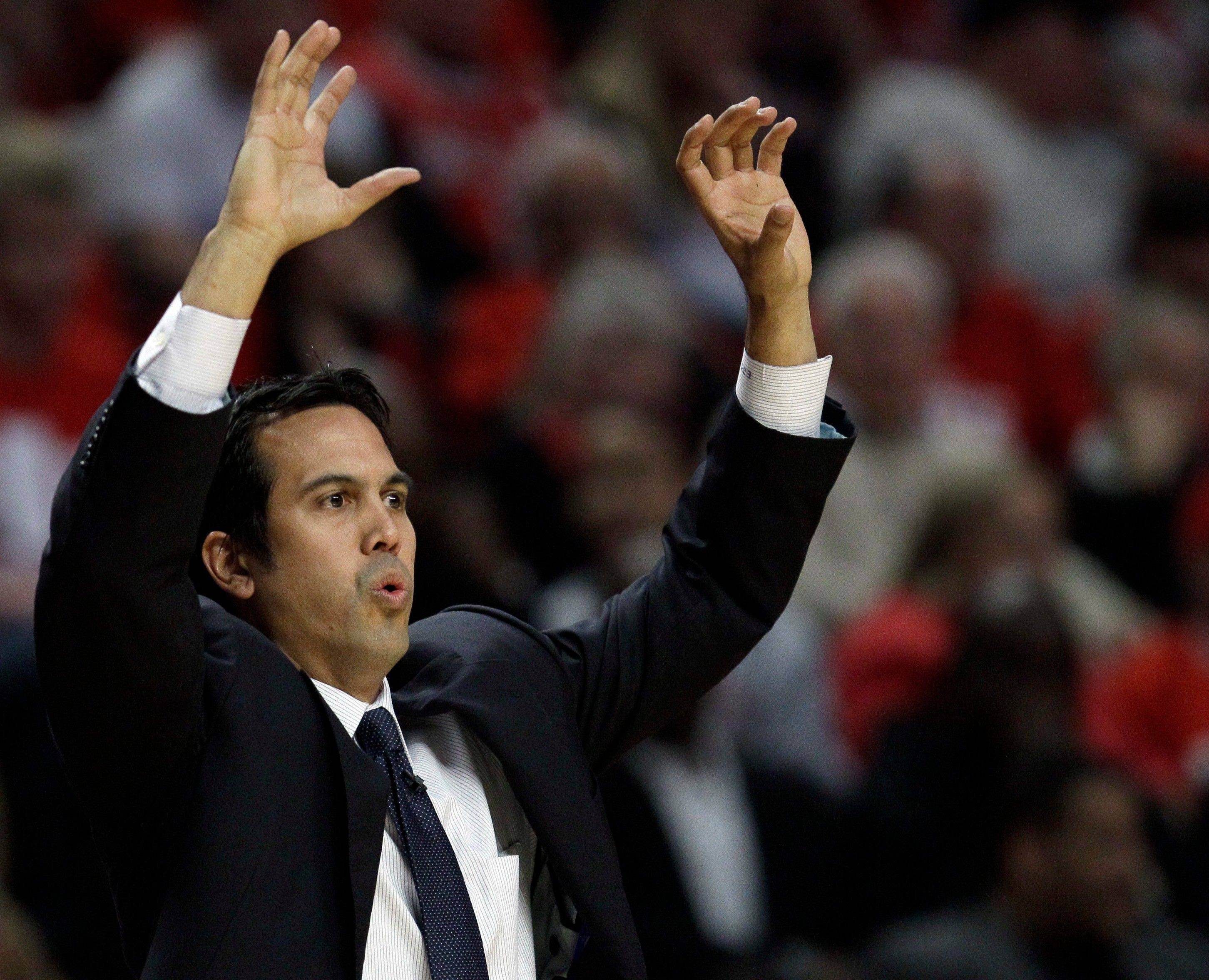 Miami Heat head coach Erik Spoelstra signals to his team during Game 1 of the NBA Eastern Conference finals.