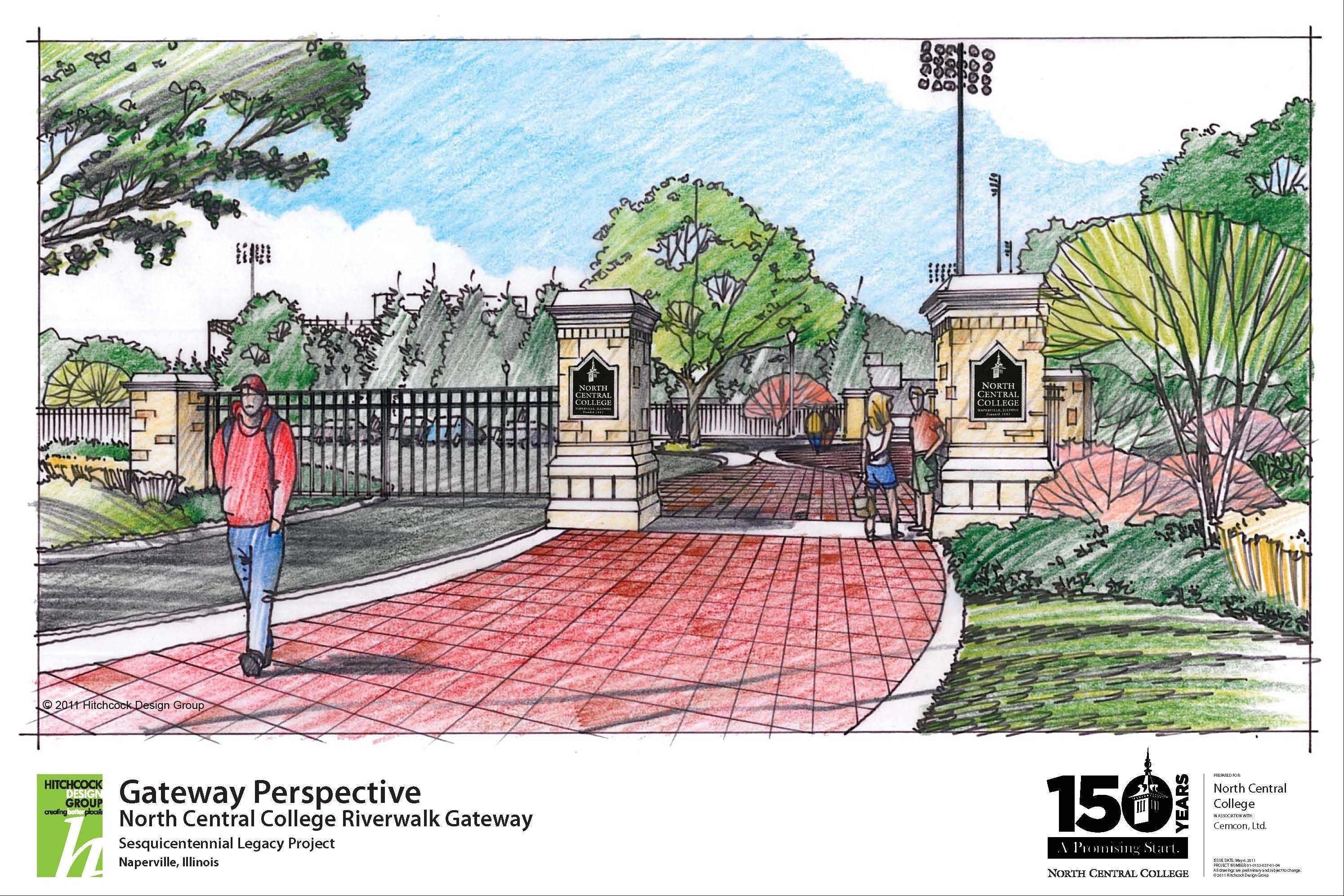 North Central College and the Naperville Riverwalk Foundation are seeking donations to build a $1.5 million gateway between the Riverwalk and college property.