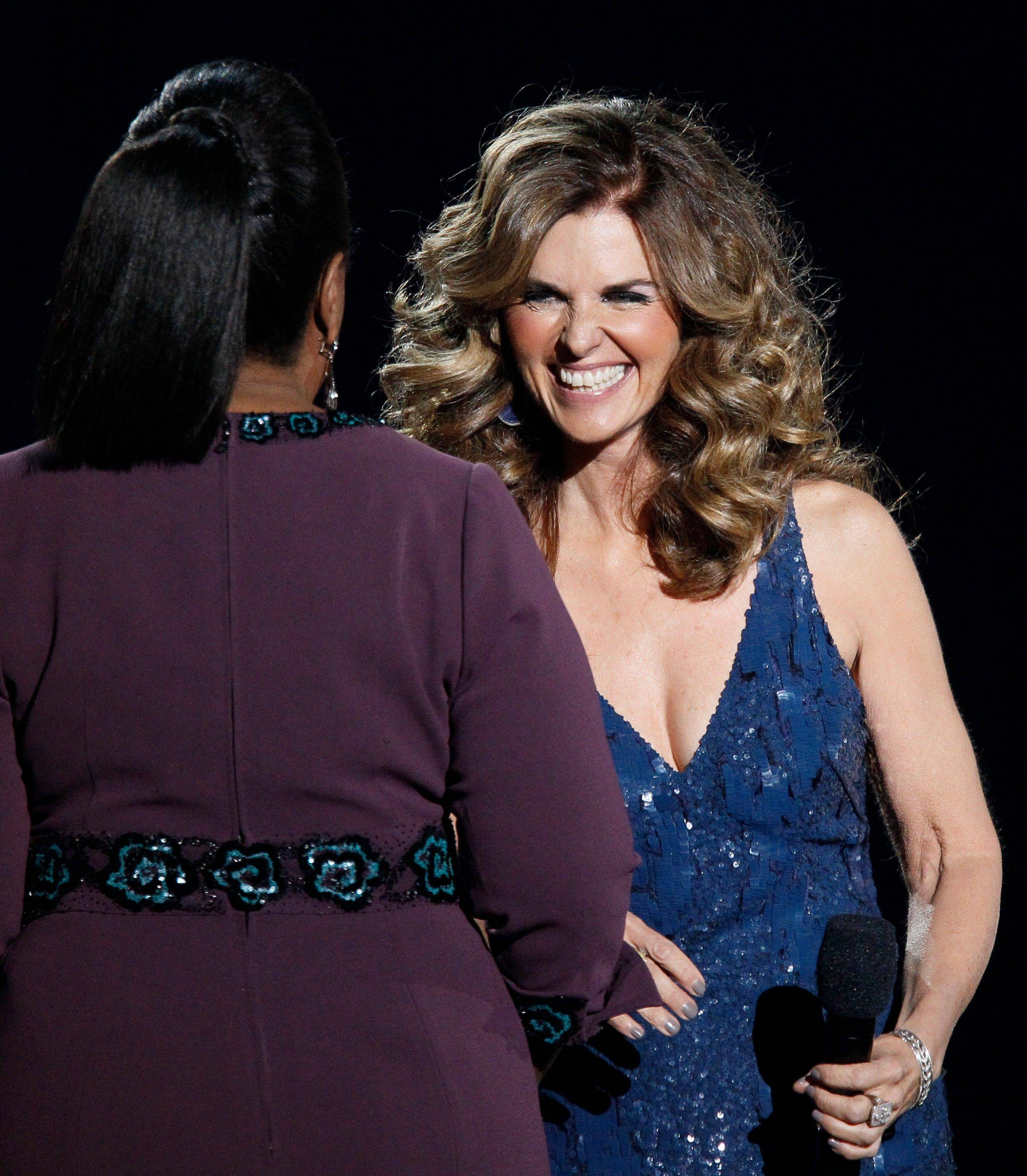 Maria Shriver appears on stage with Oprah Tuesday.